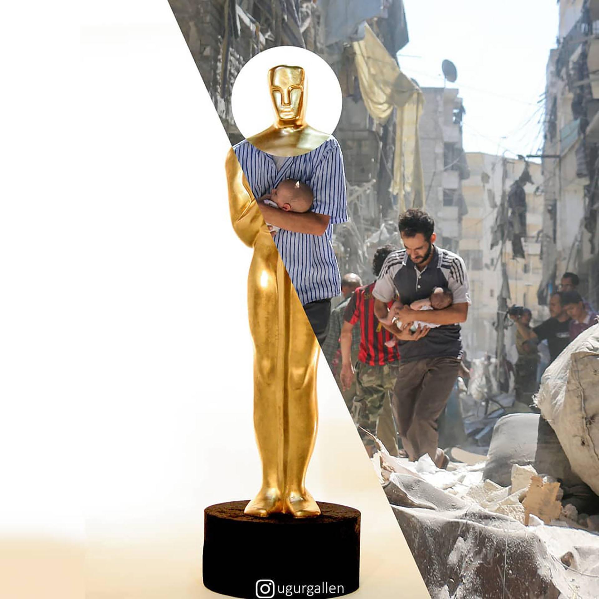 La estatuilla del Oscar y una escena de hombre rescatando un bebé en medio de los escombros tras un bombardeo en Alepo, Siria.