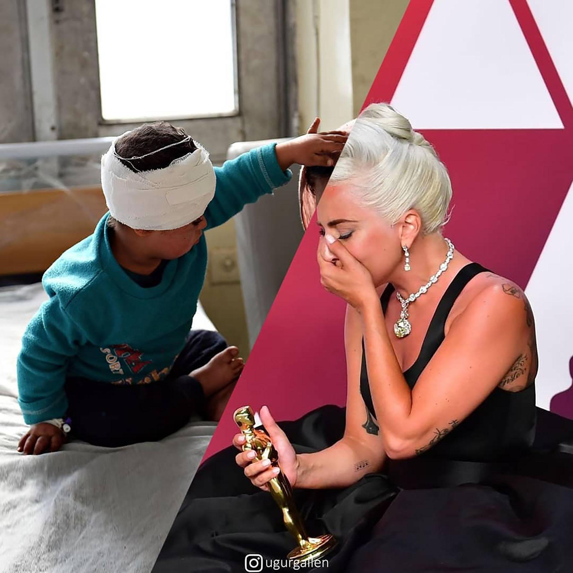 Lady Gaga y su Oscar y una madre sentada junto a un niño que se recupera en un hospital tras un ataque con un coche bomba en Kabul, la capital afgana.