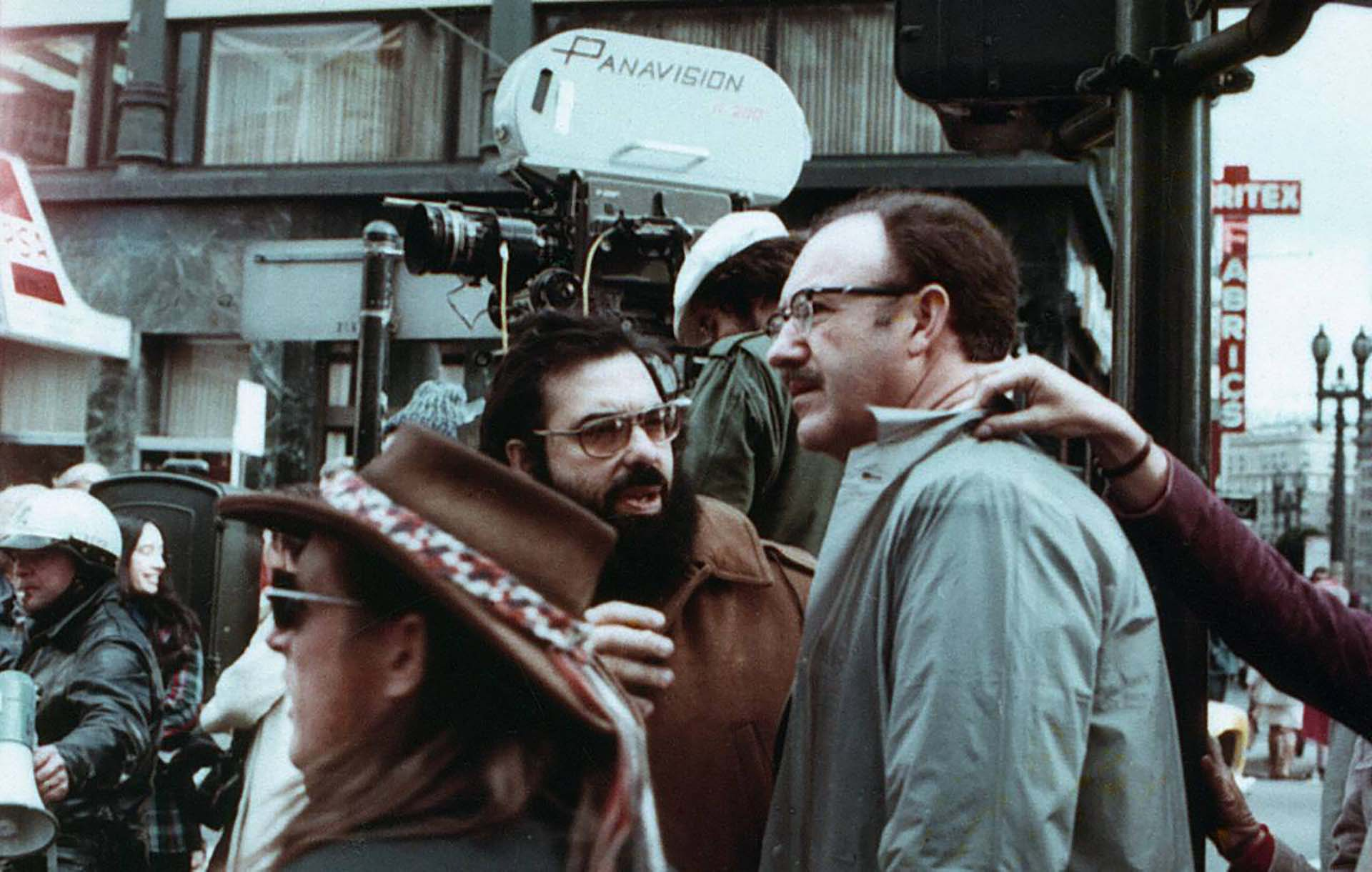 """Francis Ford Coppolay Gene Hackman en el set de filmación de """"The Conversation"""" (1974)"""