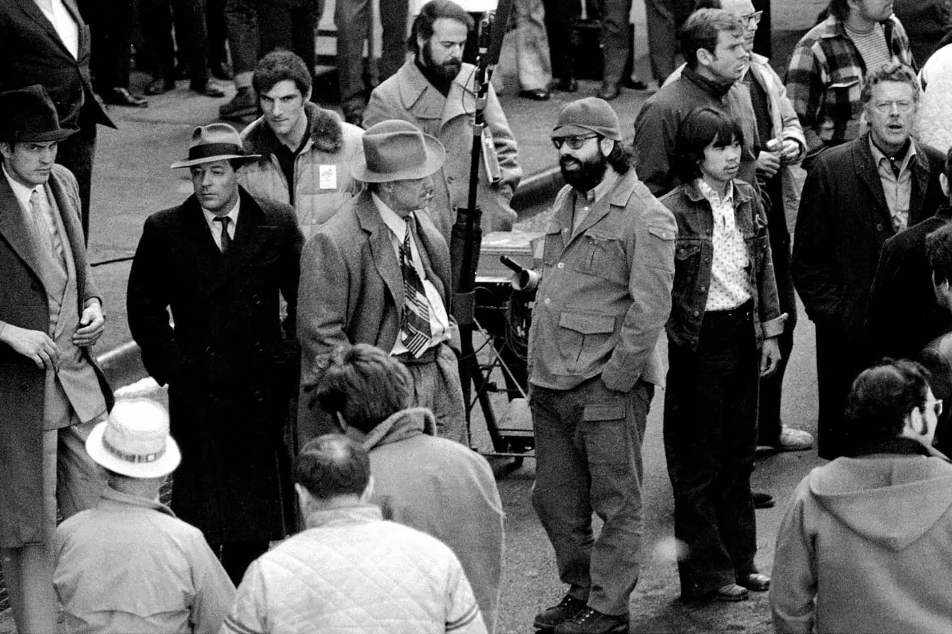 "Otro momento de Marlon Brando yFrancis Ford Coppola rodando ""El Padrino""(1972)"
