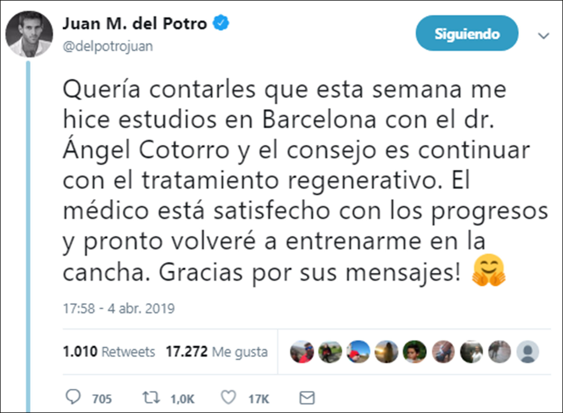 Este es el mensaje que publicó Del Potro en su cuenta de Twitter