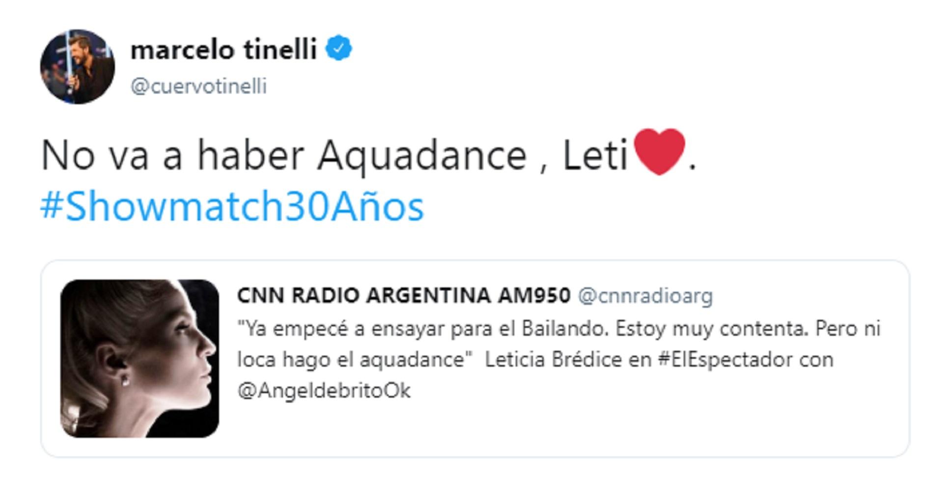 """El tuit de Marcelo Tinelli sobre la ausencia del aquadance en el """"Bailando 2019"""""""
