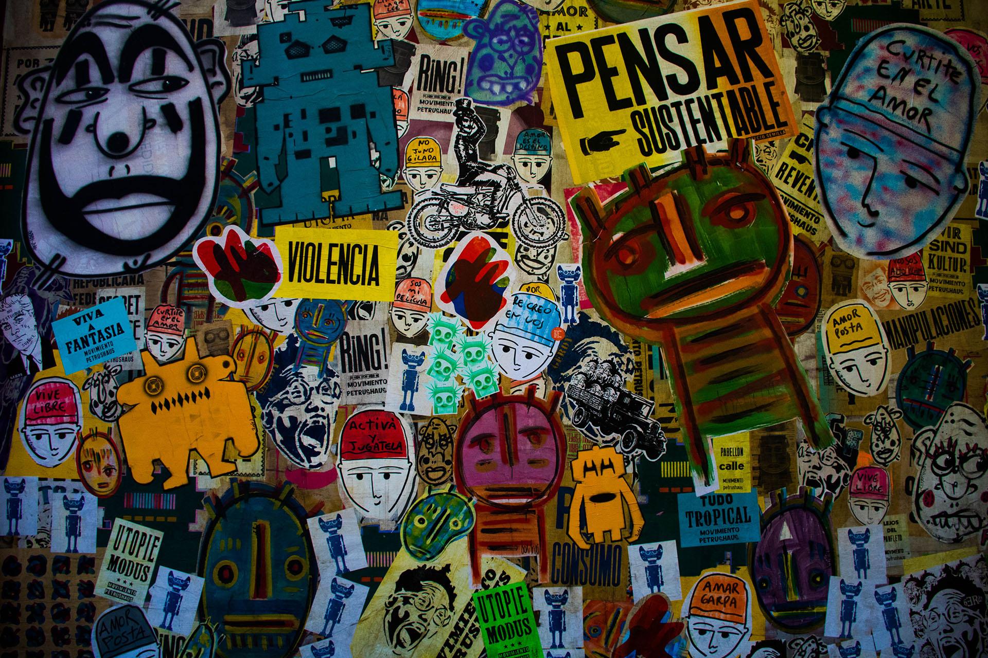 Graffitti, stencil, collage y otro tipo de manifestaciones artísticas le dan una identidad vibrante a Palermo