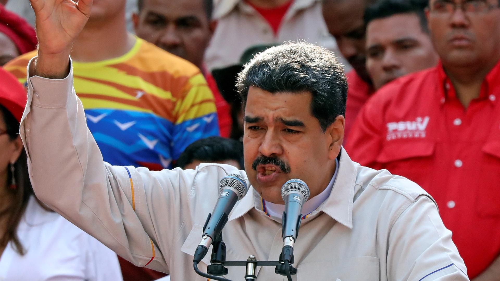 Nicolás Maduro en un acto político en Caracas el seis de abril de dos mil diecinueve (REUTERS/Manaure Quintero)