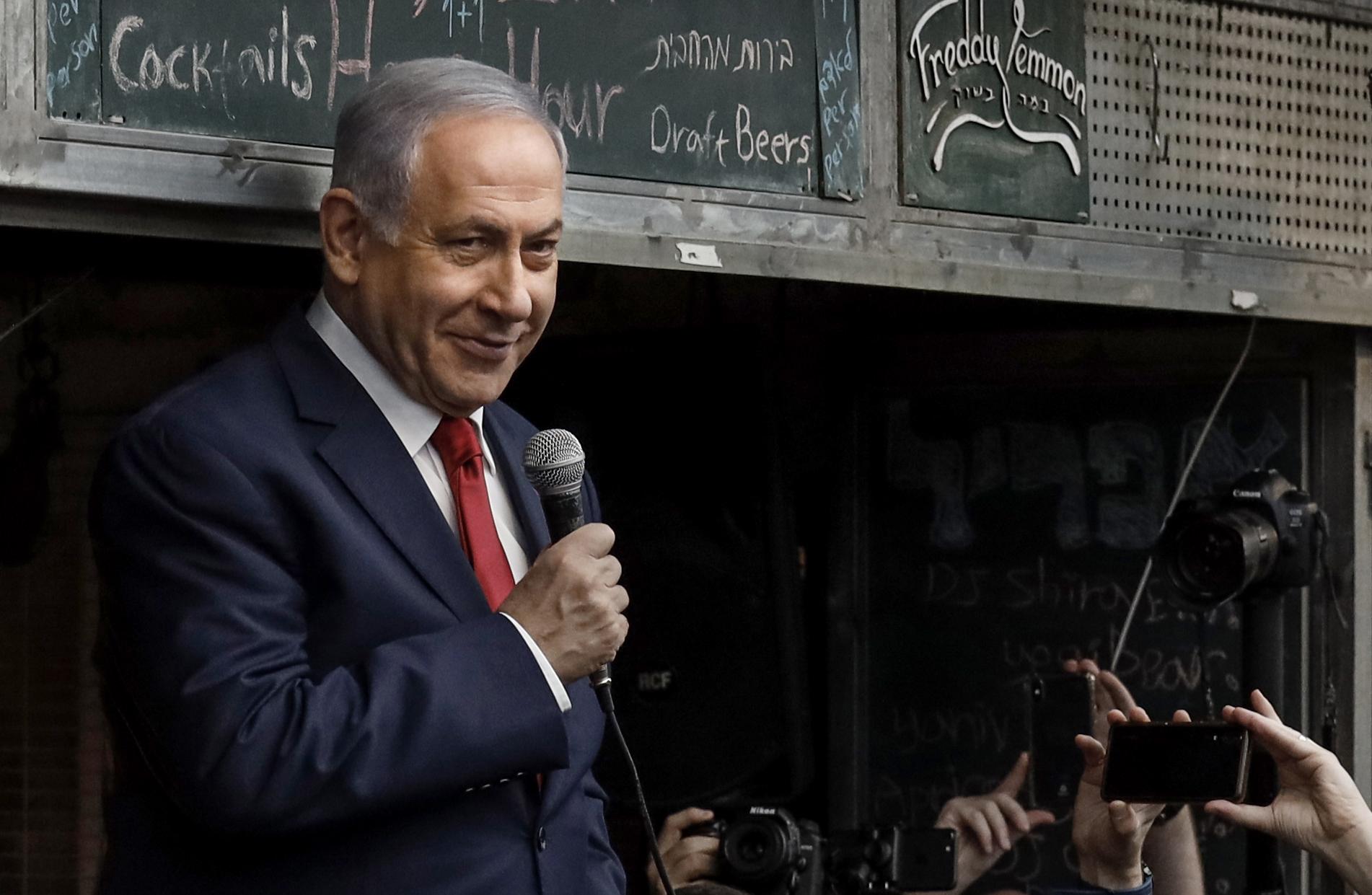 El primer ministro israelí Benjamin Netanyahu, durante un acto de campaña en Jerusalén (THOMAS COEX / AFP)