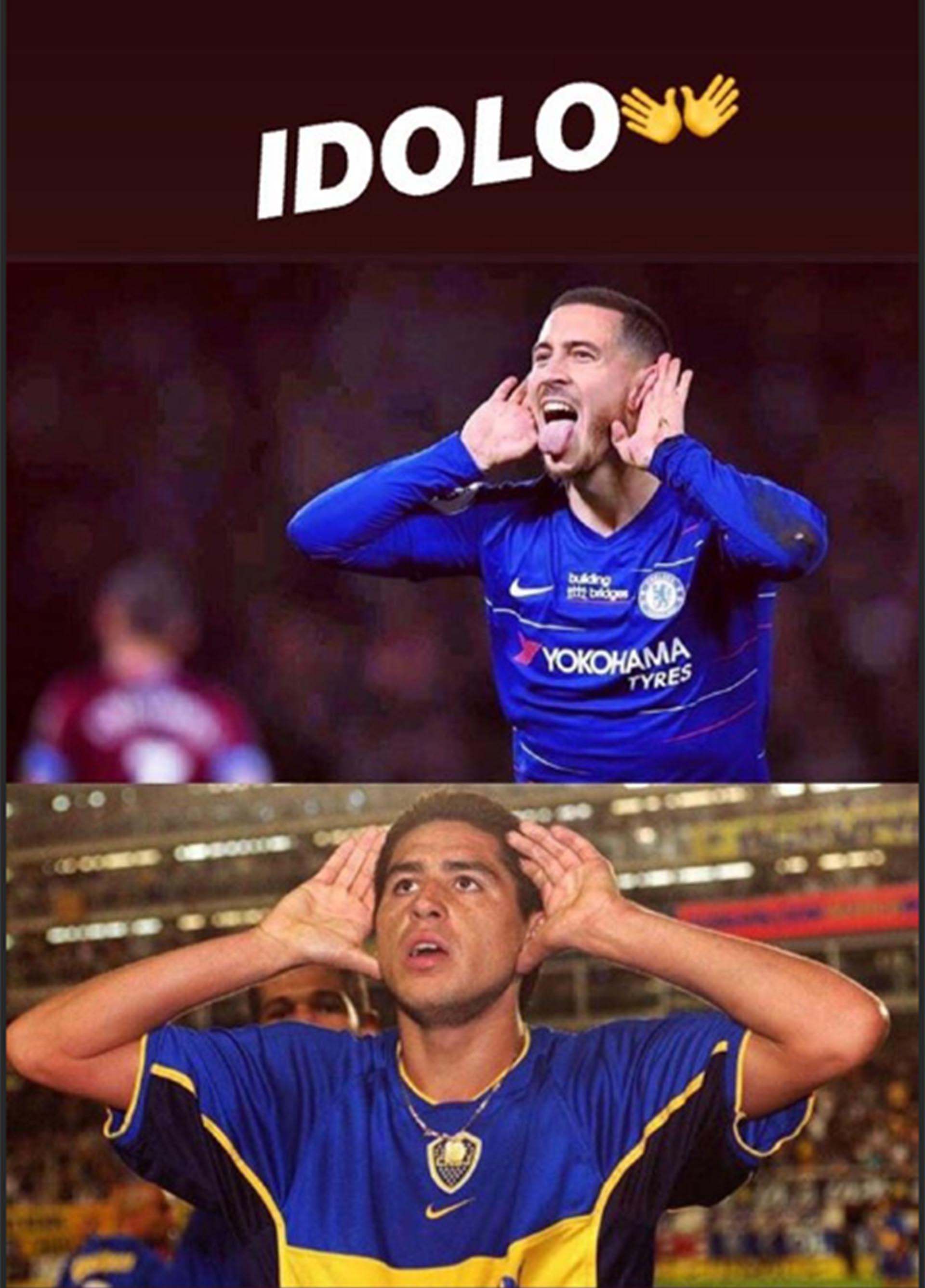"""""""Ídolo"""" y los emoji de las manos que comparan el """"Topo Gigio"""" de Hazard y Riquelme (Instagram @hazardeden_10)"""
