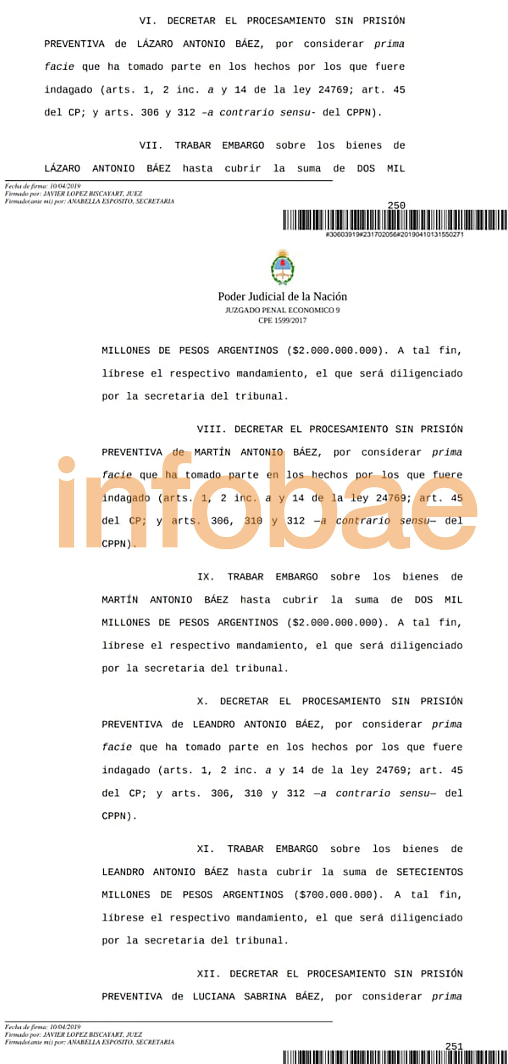 El fallo de López Biscayart que determinó el procesamiento y el embargo de Lázaro Báez y sus hijos.
