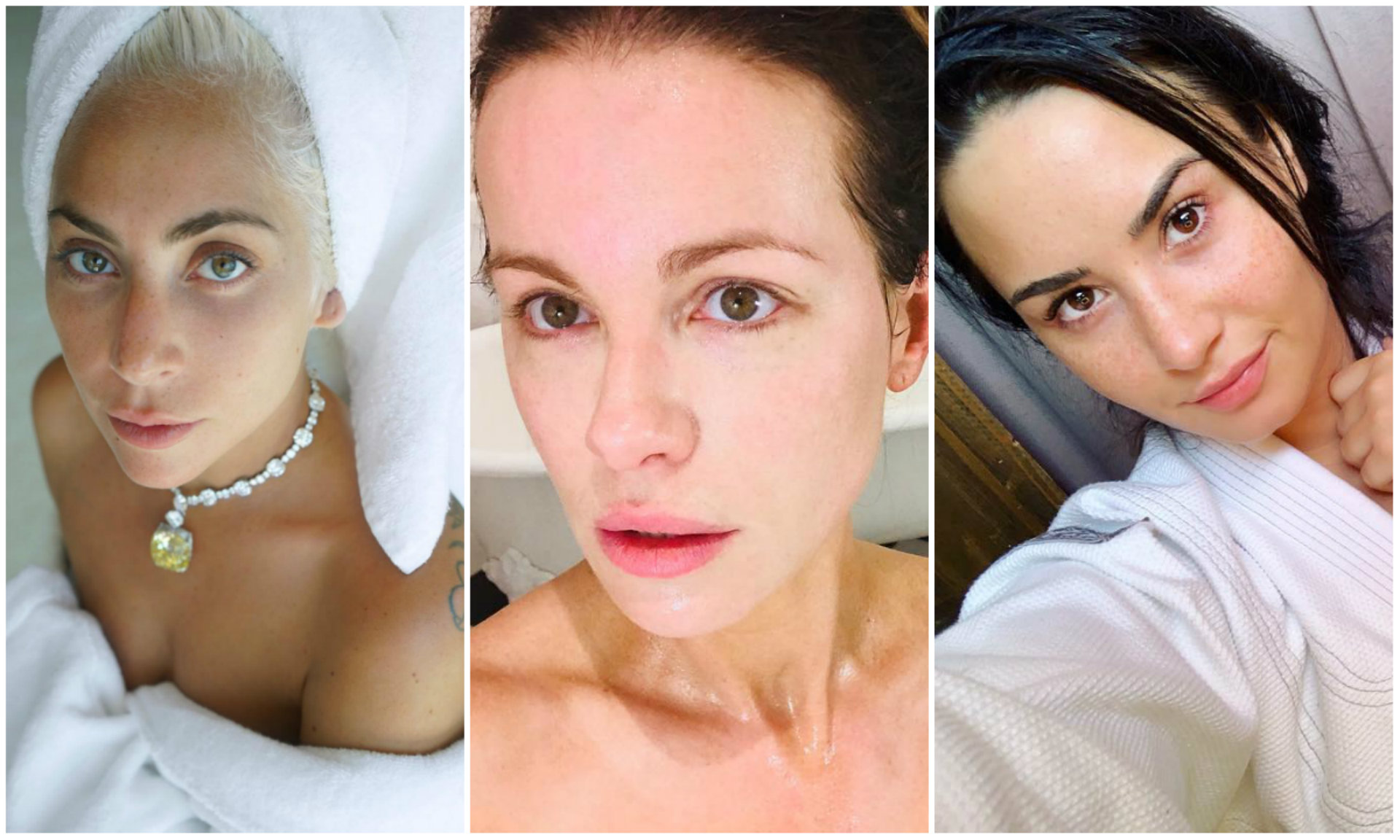 Lady Gaga, Kate Beckinsale y Demi Lovato son algunas de las famosas que han lucido su rostro al natural (Instagram)