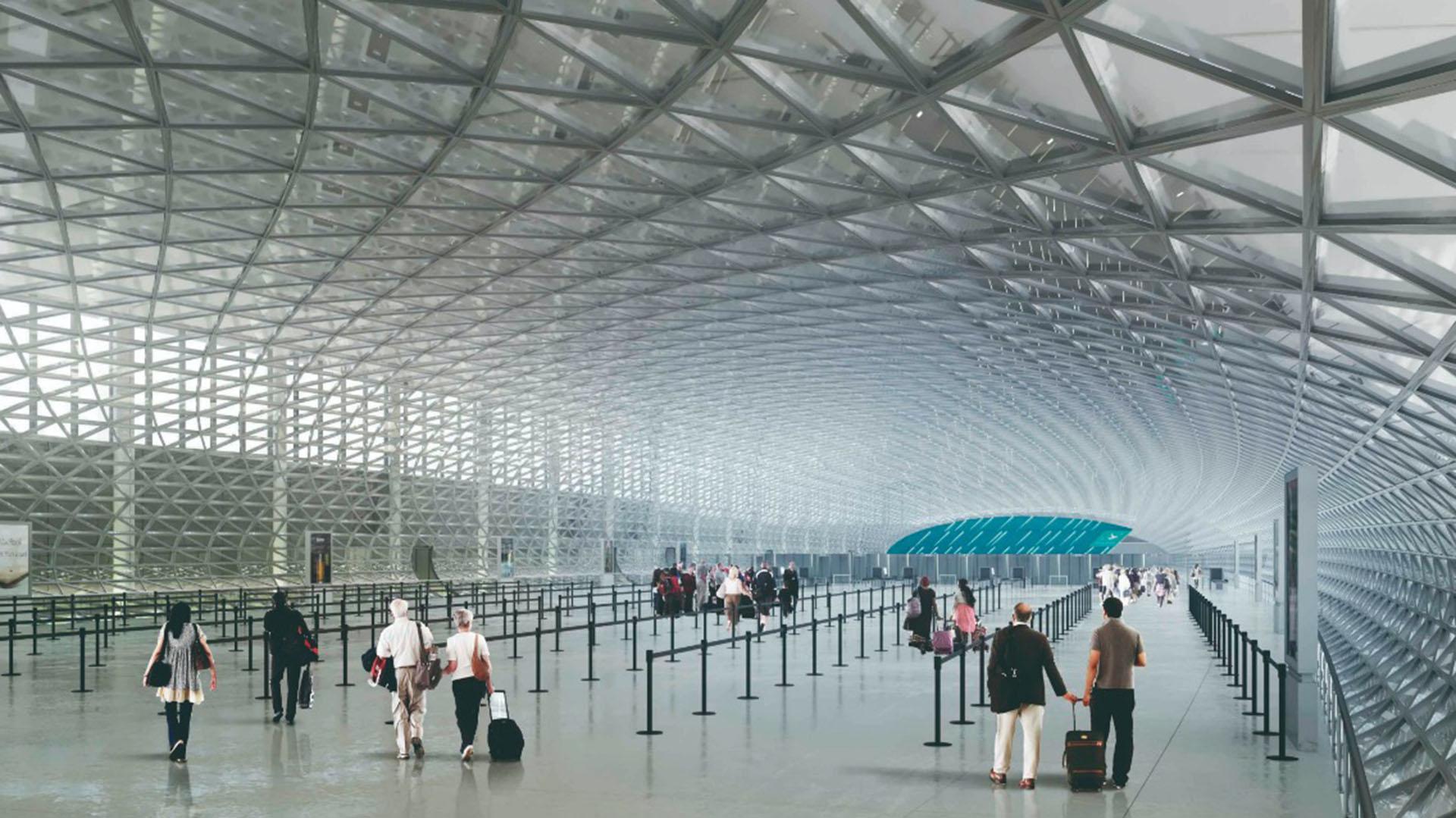 """En el hall de acceso principal, habrá pantallas led encima de las plataformas de check-in que podrá utilizar cualquier línea aérea. En las pantallas estarán pasando información en tiempo real para el pasajero: cuánto tiempo de demora tiene hasta el """"gate"""" o el clima del lugar de destino, entre otros datos de interés"""