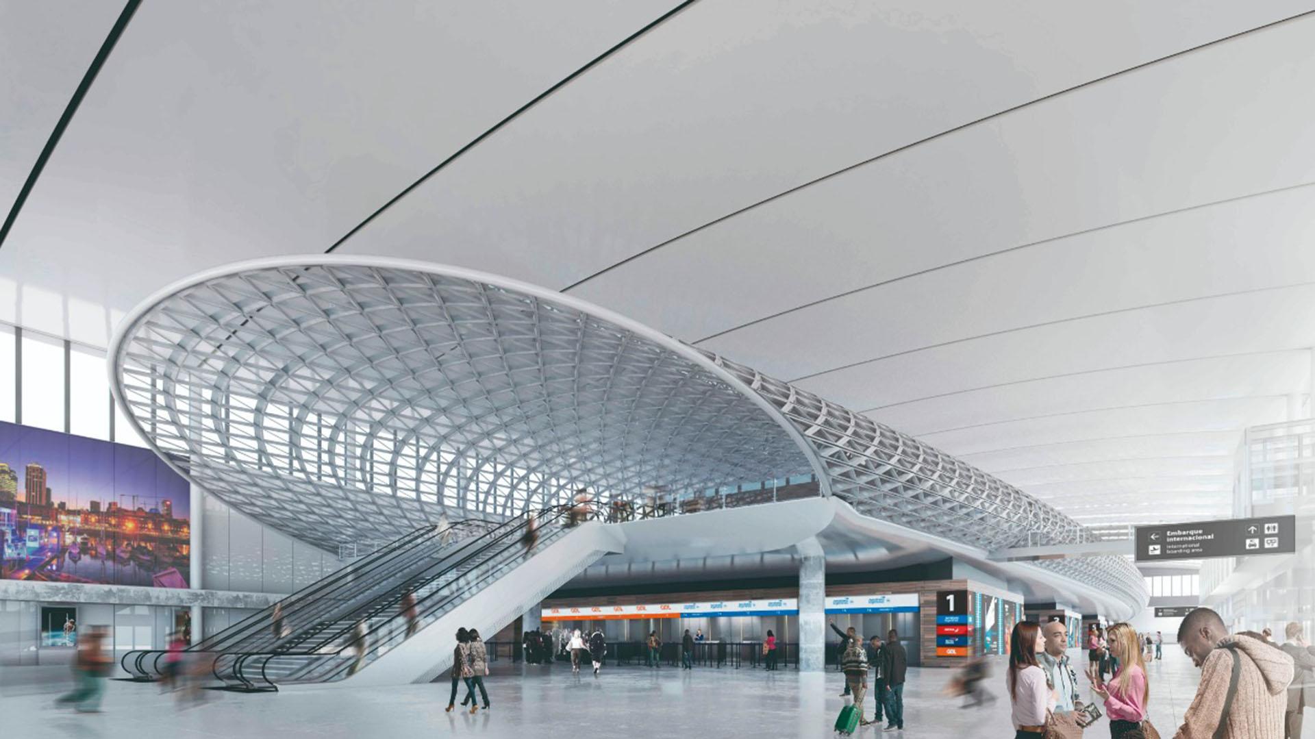 """El """"Zeppelin"""" será un edificio dentro de otro y conectará hacia la zona de embarque. Habrá zonas interactivas especiales para sacarse fotos y ser el sitio destinado para las despedidas"""