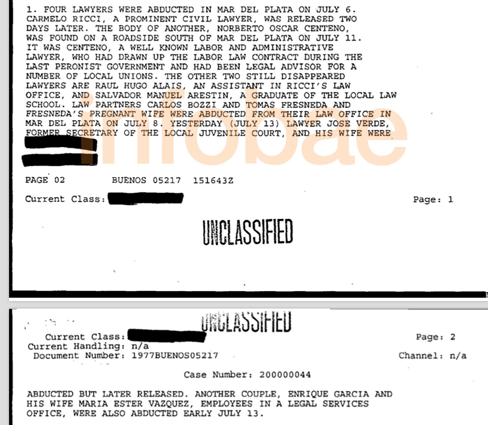 Continuación del primer documento desclasificado por la FOIA sobre el secuestro de los abogados