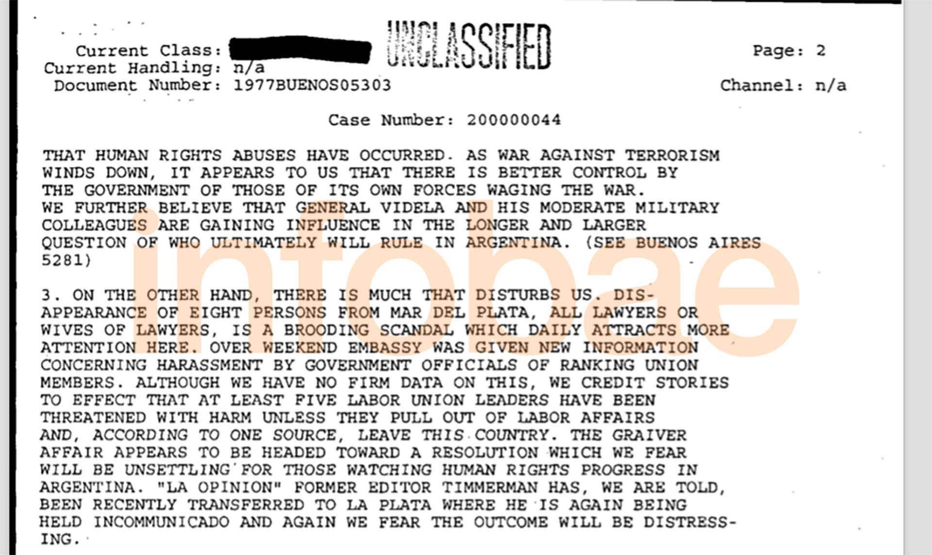 """El segundo documento desclasificado por la FOIA que alude a la Noche de las Corbatas califica el episodio como """"un escándalo inquietante""""."""
