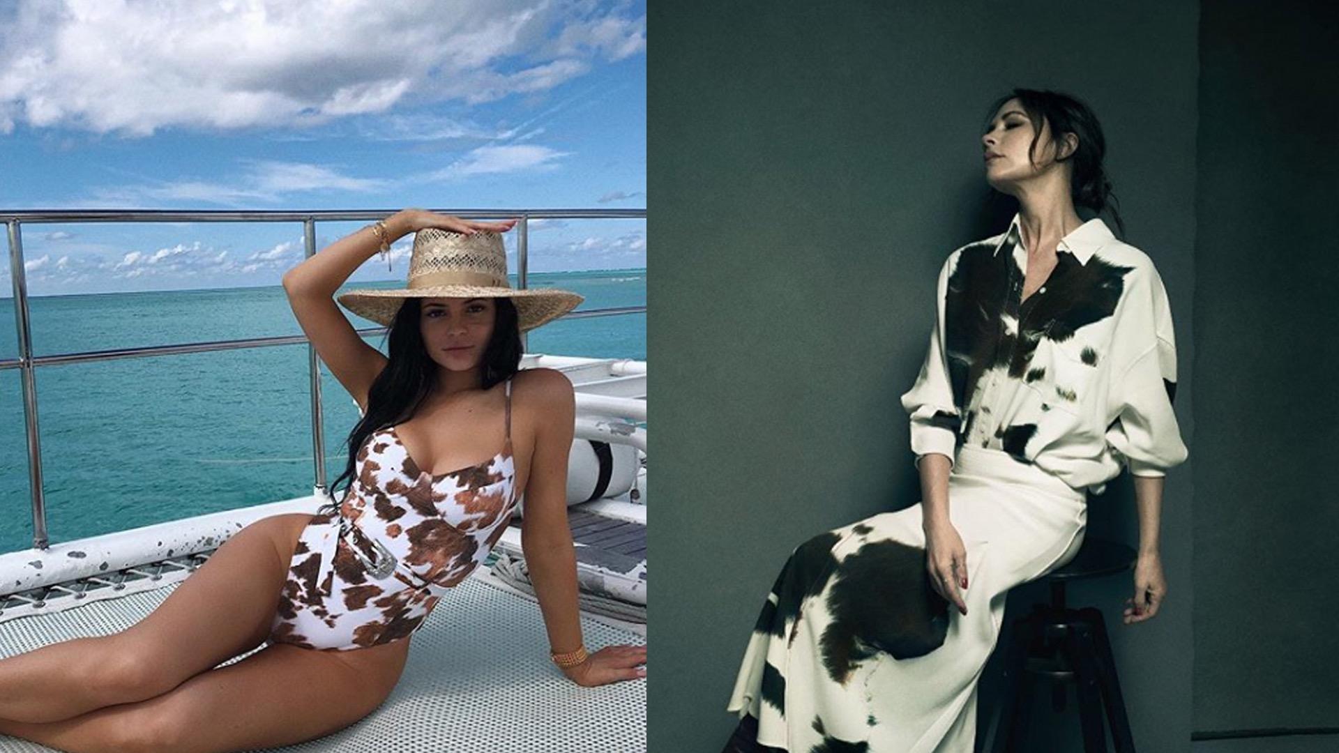 Kylie Jenner posteó la foto con su traje de baño con print y la propuesta de Victoria Beckham para la temporada otoño-invierno 2019.