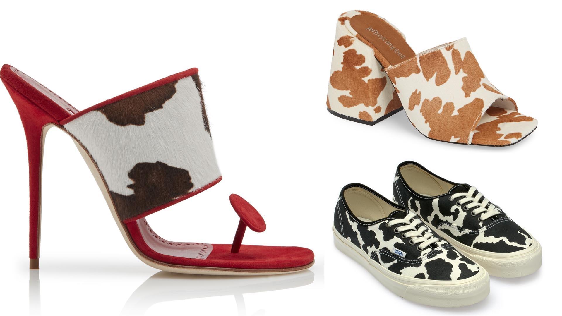 Sandalias de taco aguja de Manolo Blahnik, zuecos de Jeffrey Campbell y zapatillas Vans.