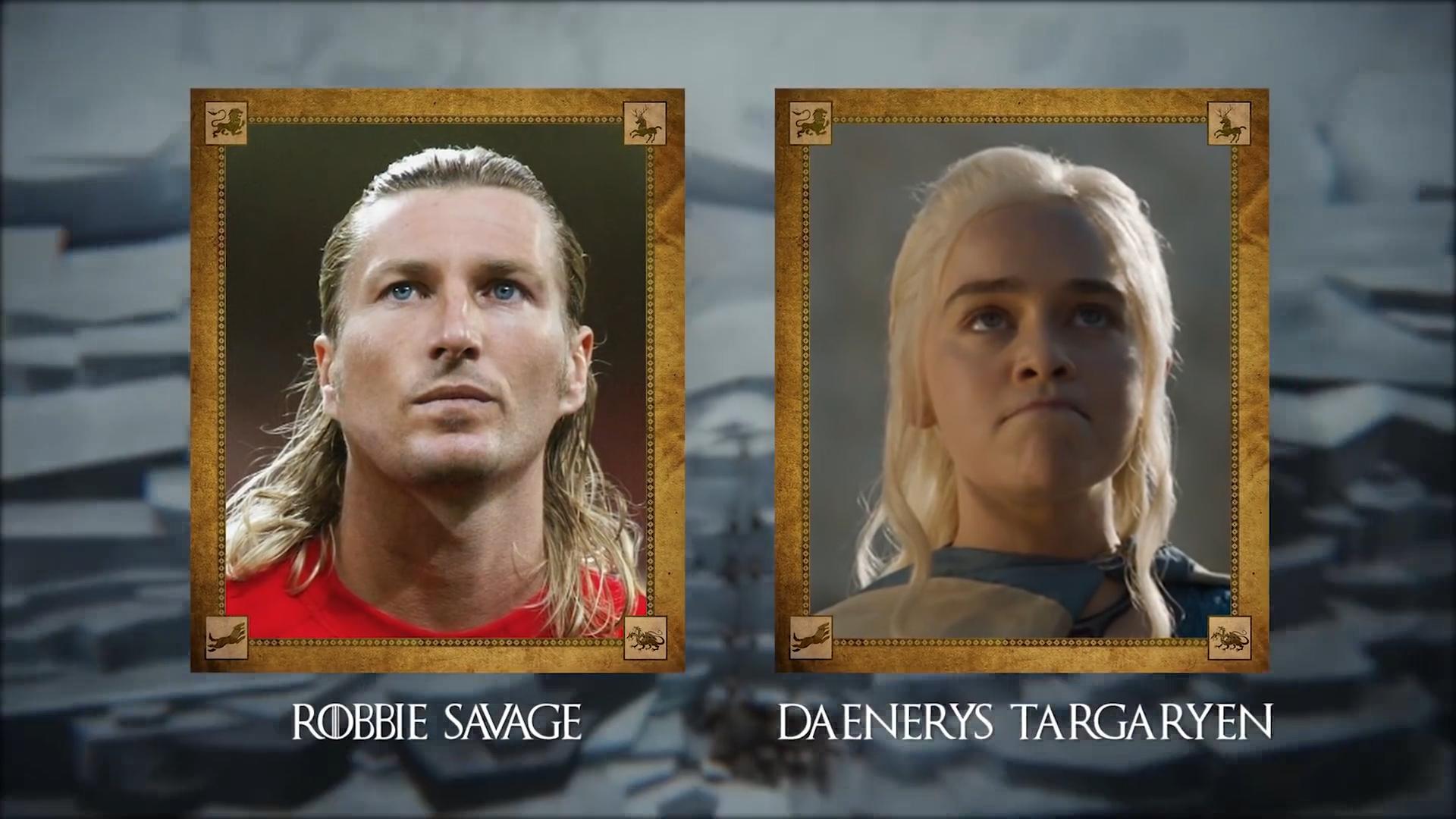 Robbie Savage (ex futbolista inglés) con Daenerys Targaryen