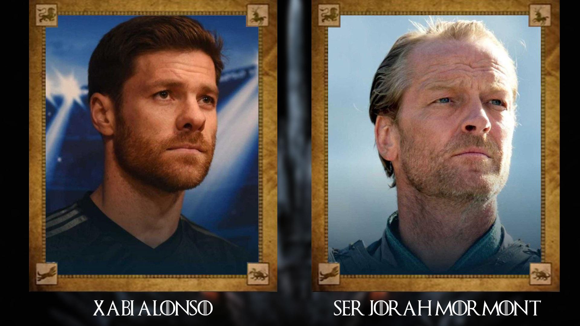 Xabi Alonso (ex futbolista y entrenador español) con Ser Jorah Mormont