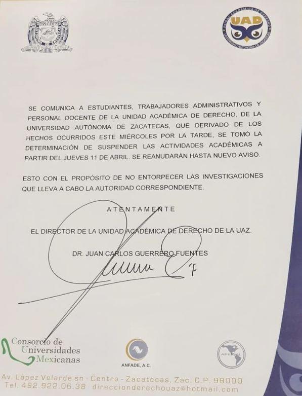 Las autoridades escolares suspendieron las clases hasta nuevo aviso (Foto: Twitter @Facultad de Derecho de la UAZ)