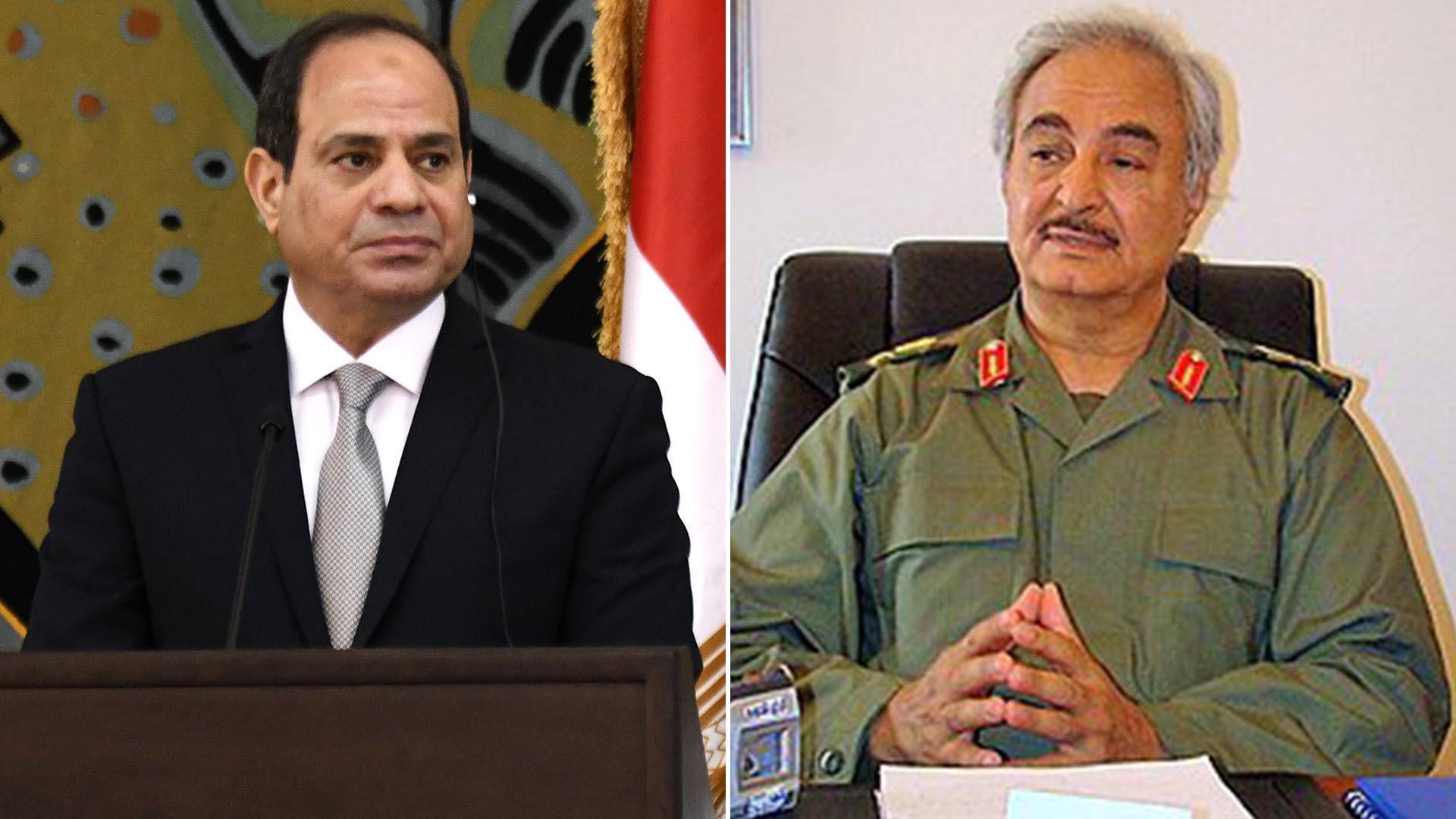 El dictador militar convertido en presidente de Egipto, Abdel Fattah al Sisi, y al caudillo libio que quiere controlar todo el país, Jalifa Haftar (AFP / Wikipedia)