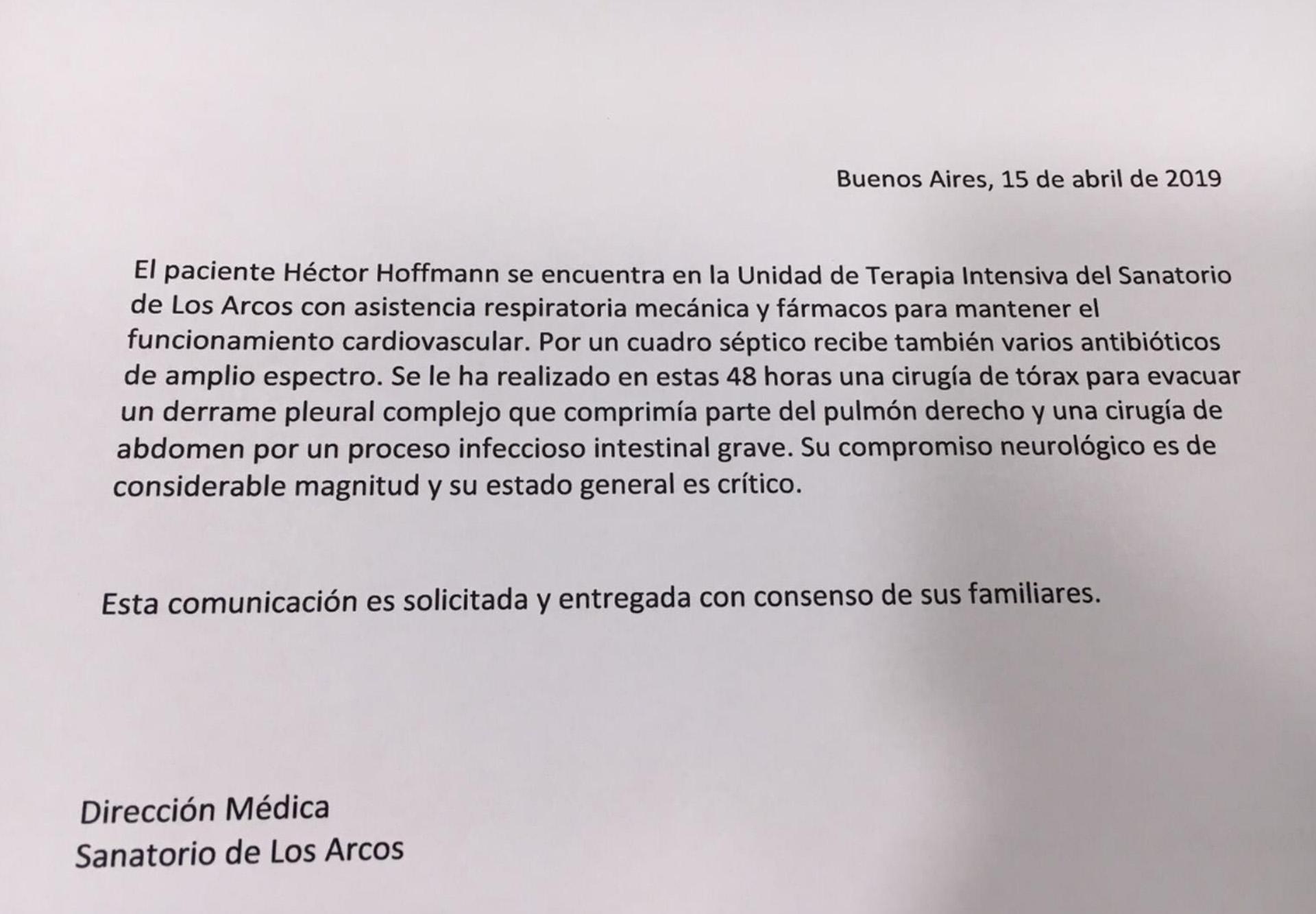 El hijo del cantante publicó el nuevo parte médico en su cuenta de Twitter