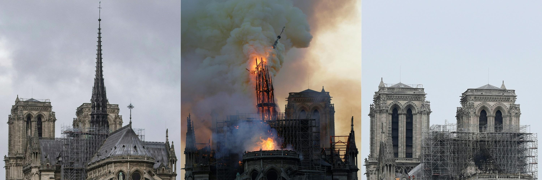 Combinación de imágenes del antes, durante y después de la tragedia