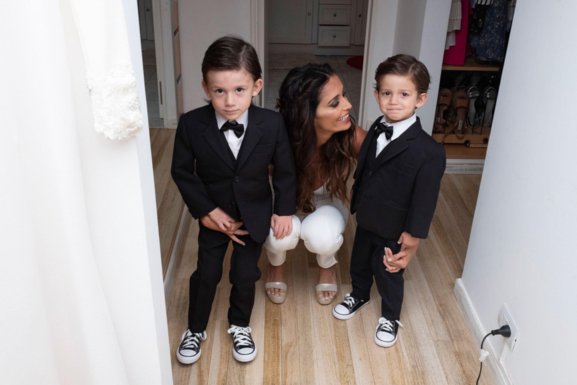 Paz Cornú con sus hijos, momentos antes de su gran casamiento.