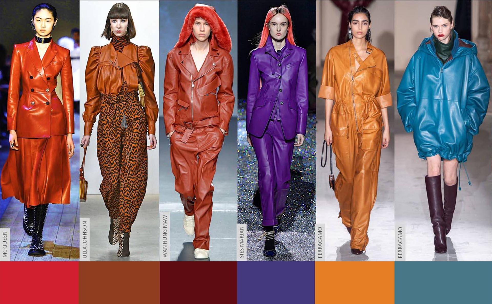 Cuero en color. Looks de las pasarelas de las semanas de la moda.