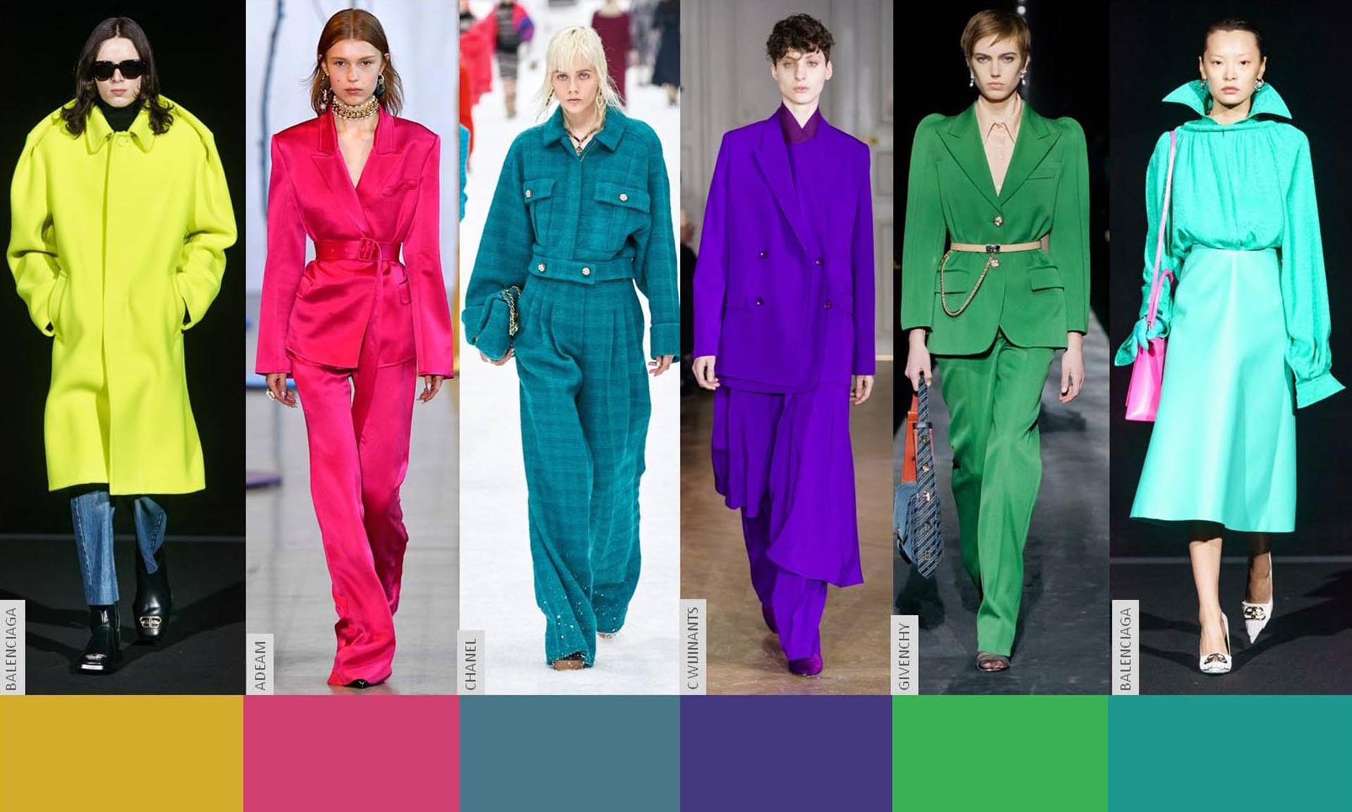Outfits monocolor sobre las pasarelas.