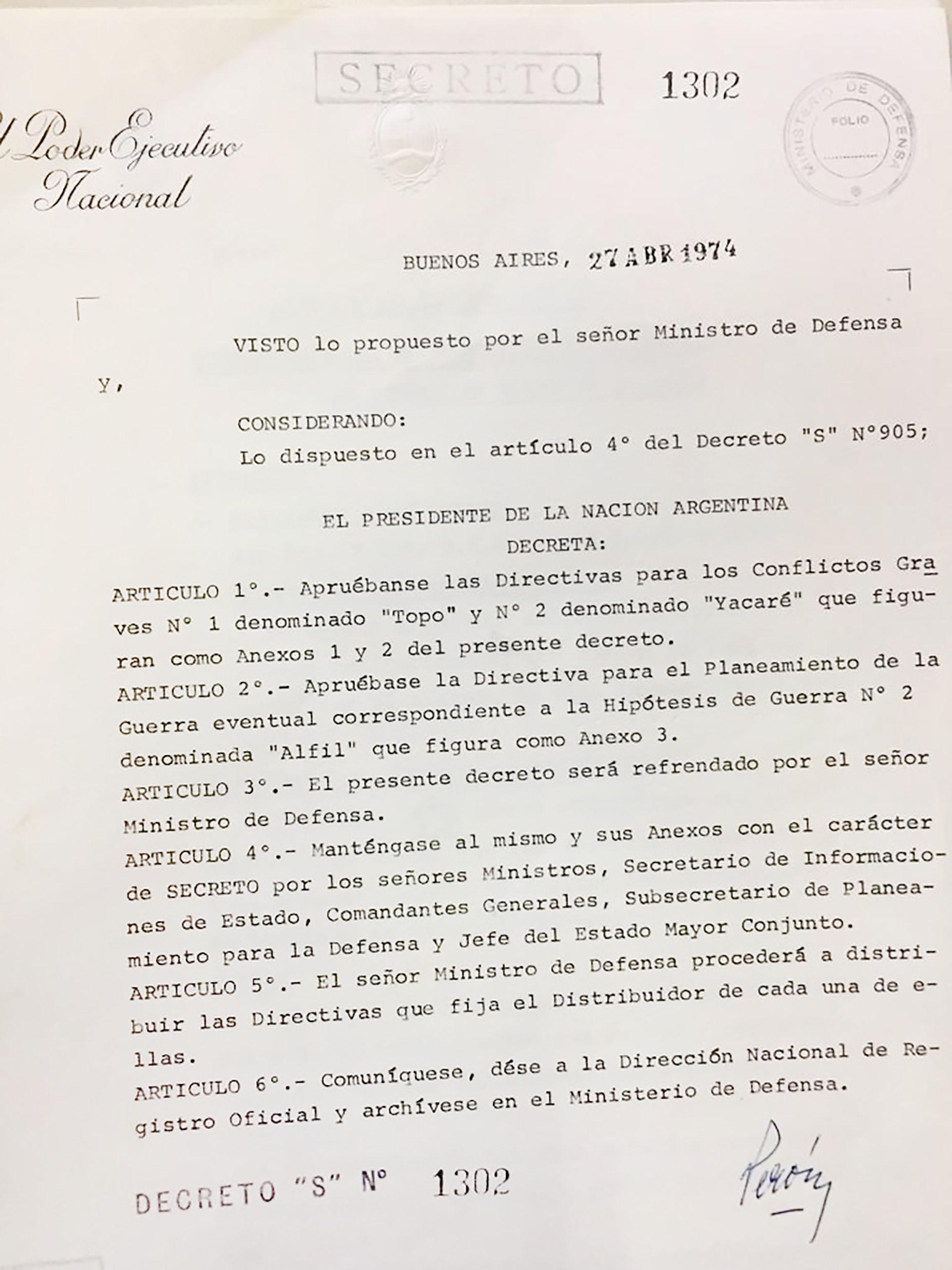 Nota Decretos Cóndor II Decreto Peron 1302_1