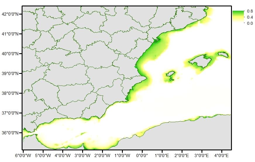 Mapa de predicción de presencia de delfín mular en la costa oeste mediterránea. Author provided (No reuse)