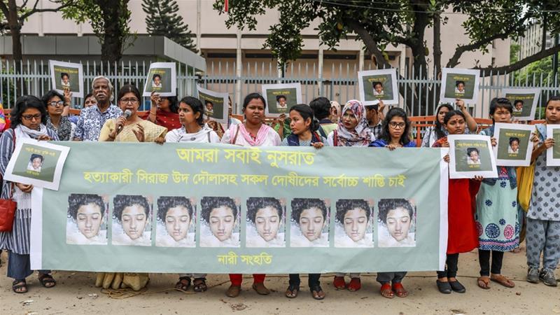 Quejas en todo el país por el homicidio  de Nusrat Jahan Rafi