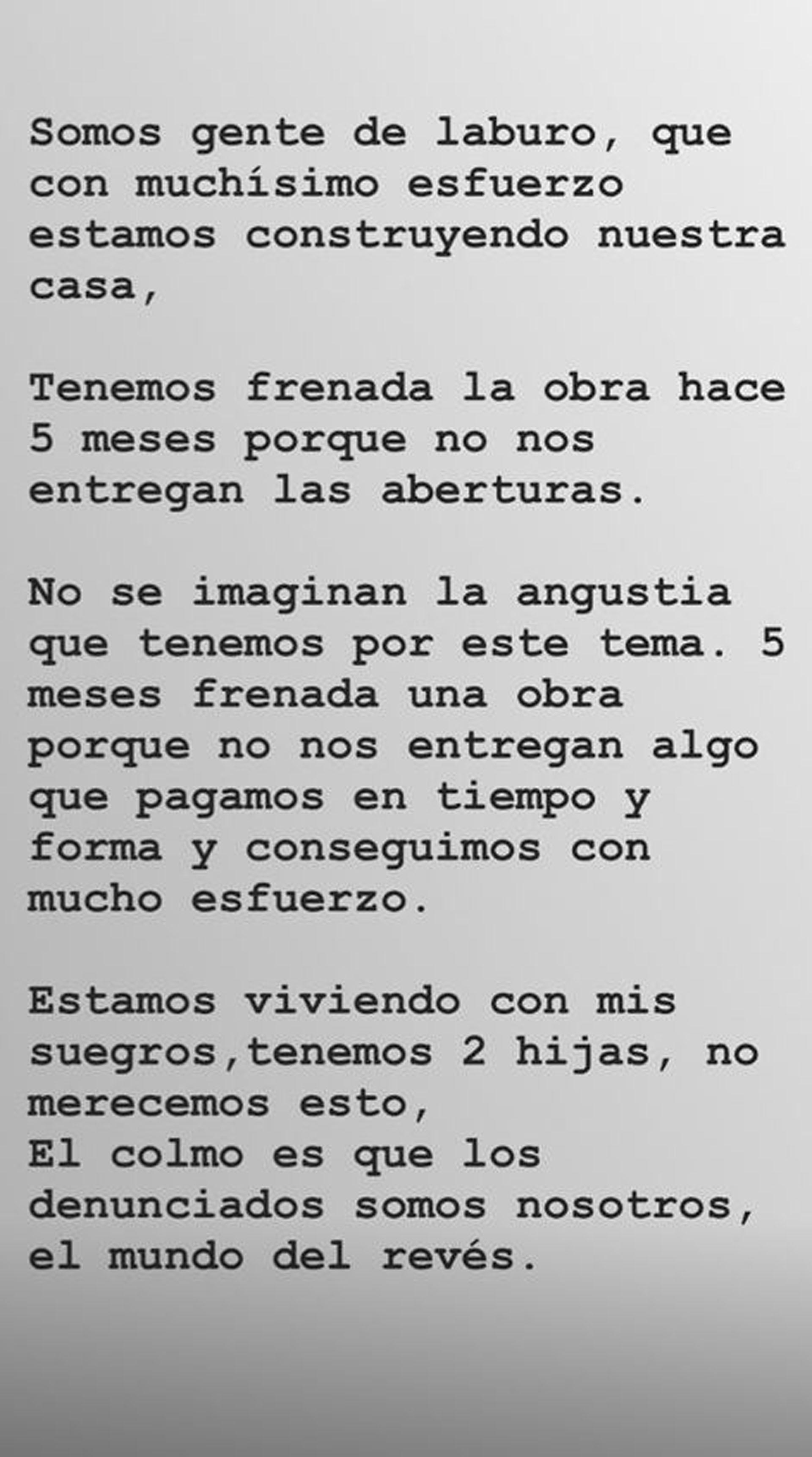 Valeria Repetto contó su versión de los hechos desde su cuenta en Instagram