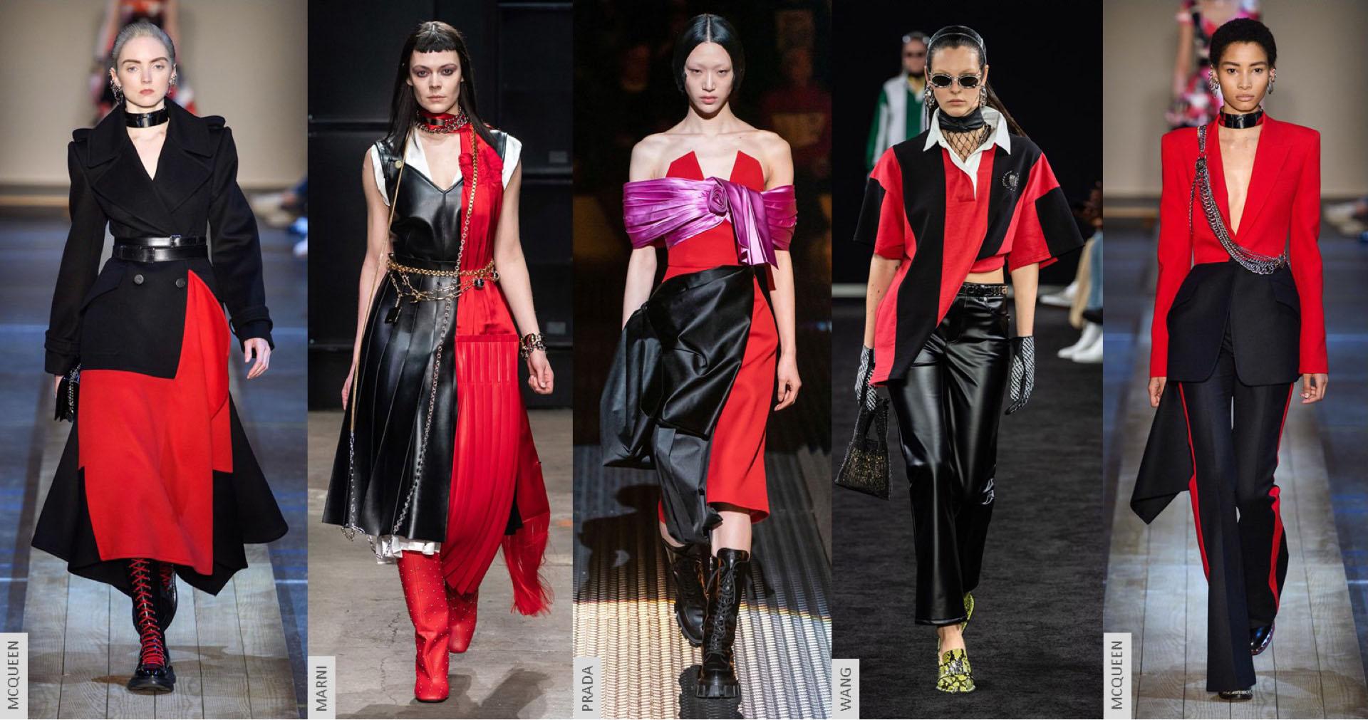 Rojo+negro, una de las combinaciones del próximo invierno.