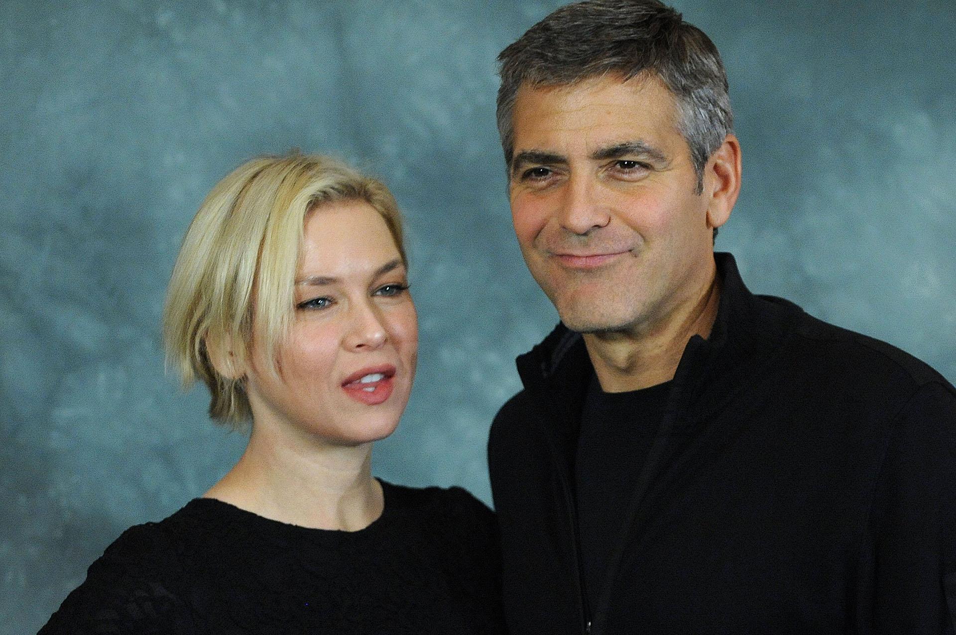 """Renée Zellweger y George Clooney durante la presentación del filme """"Jugando sucio"""", dirigido por Clooney en 2008"""