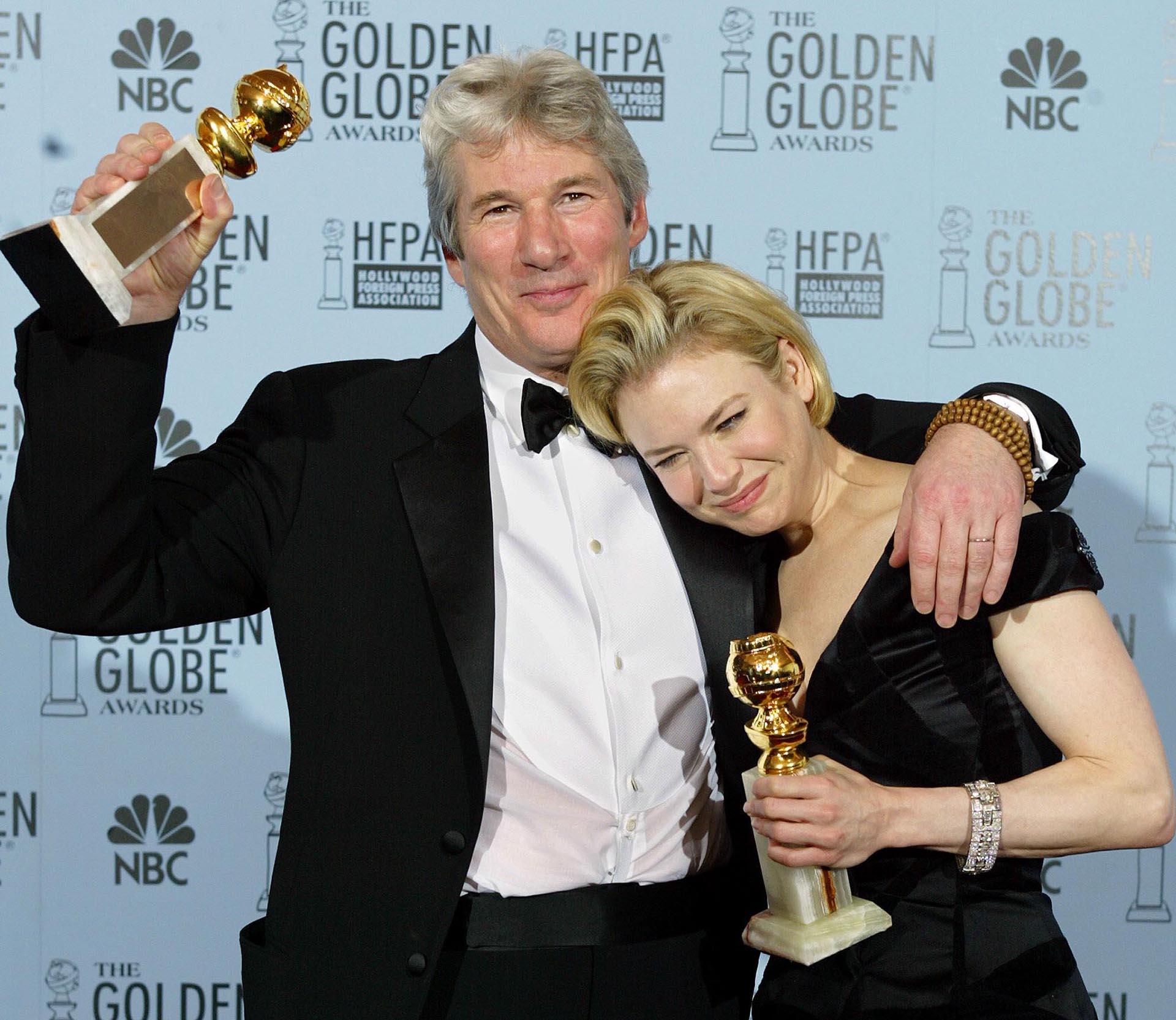 """Richard Gere y Renée Zellweger, ganadores de los Globos de Oro por el musical """"Chicago"""" en 2003"""