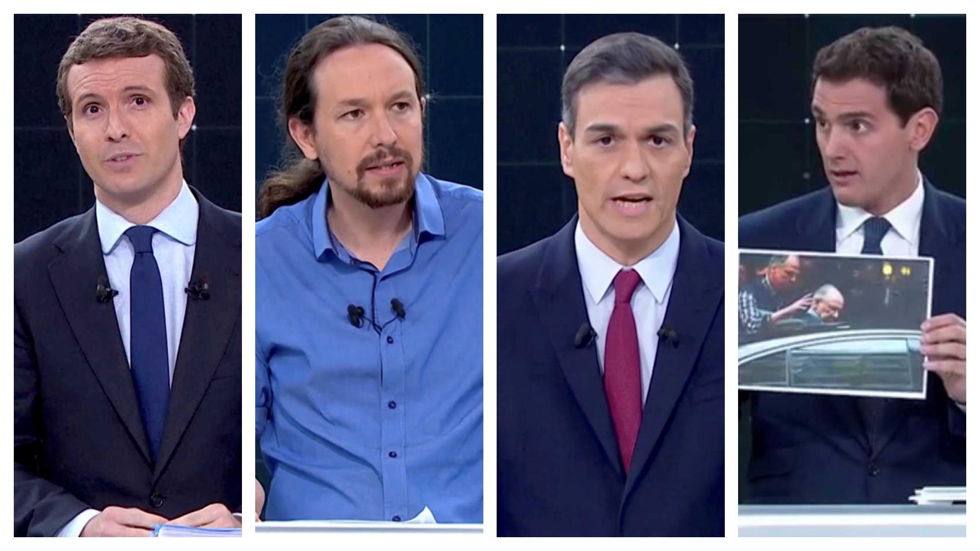 Debate en TV: Pablo Casado, presidente del PP, Pedro Sánchez, líder del Psoe, Pablo Iglesias, secretario general de Podemos y Albert Rivera, presidente de Ciudadanos luchan para convencer al electorado español. Rtve.es