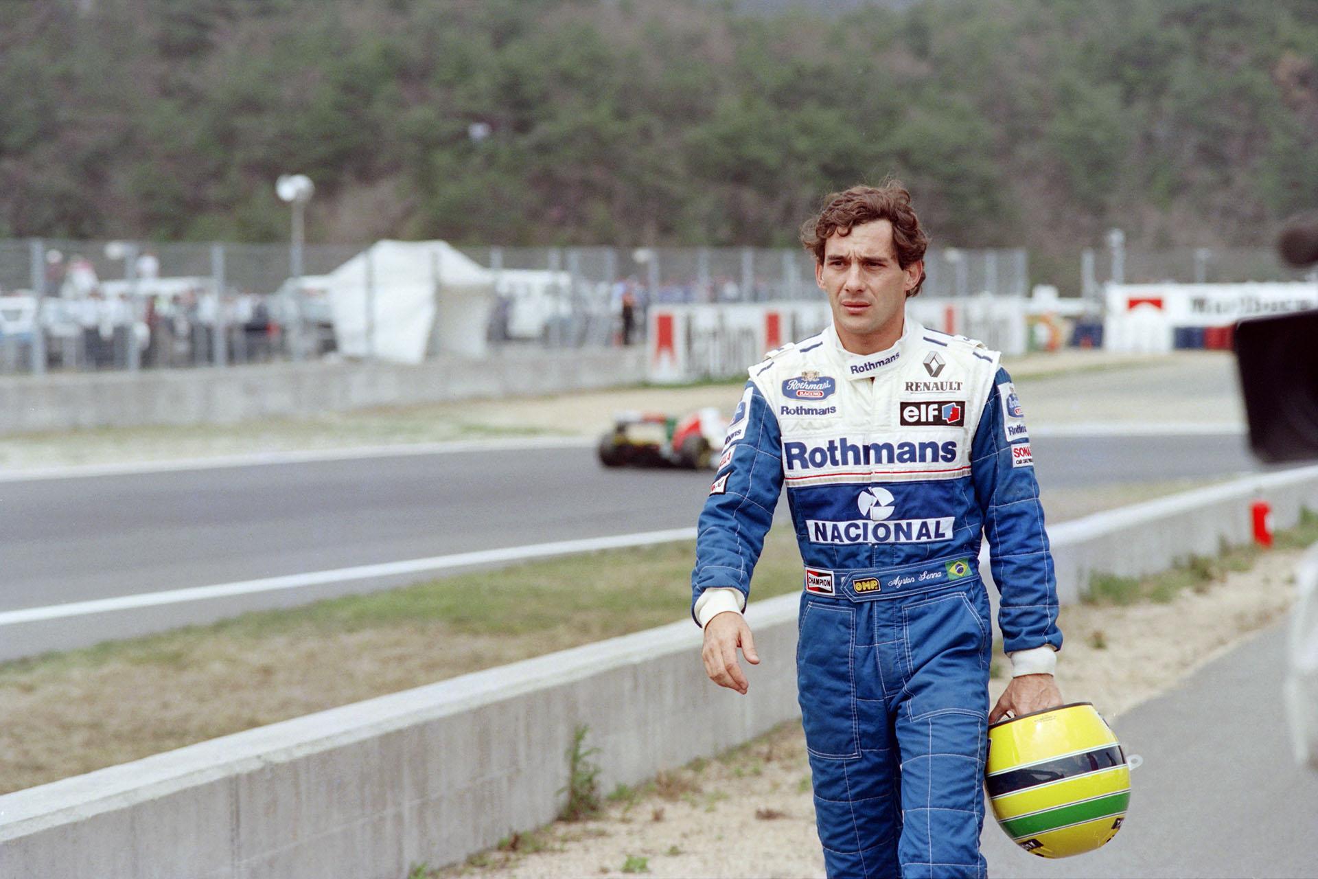 Ayrton Senna vestido con el buzo de Williams, su último equipo en la Fórmula 1