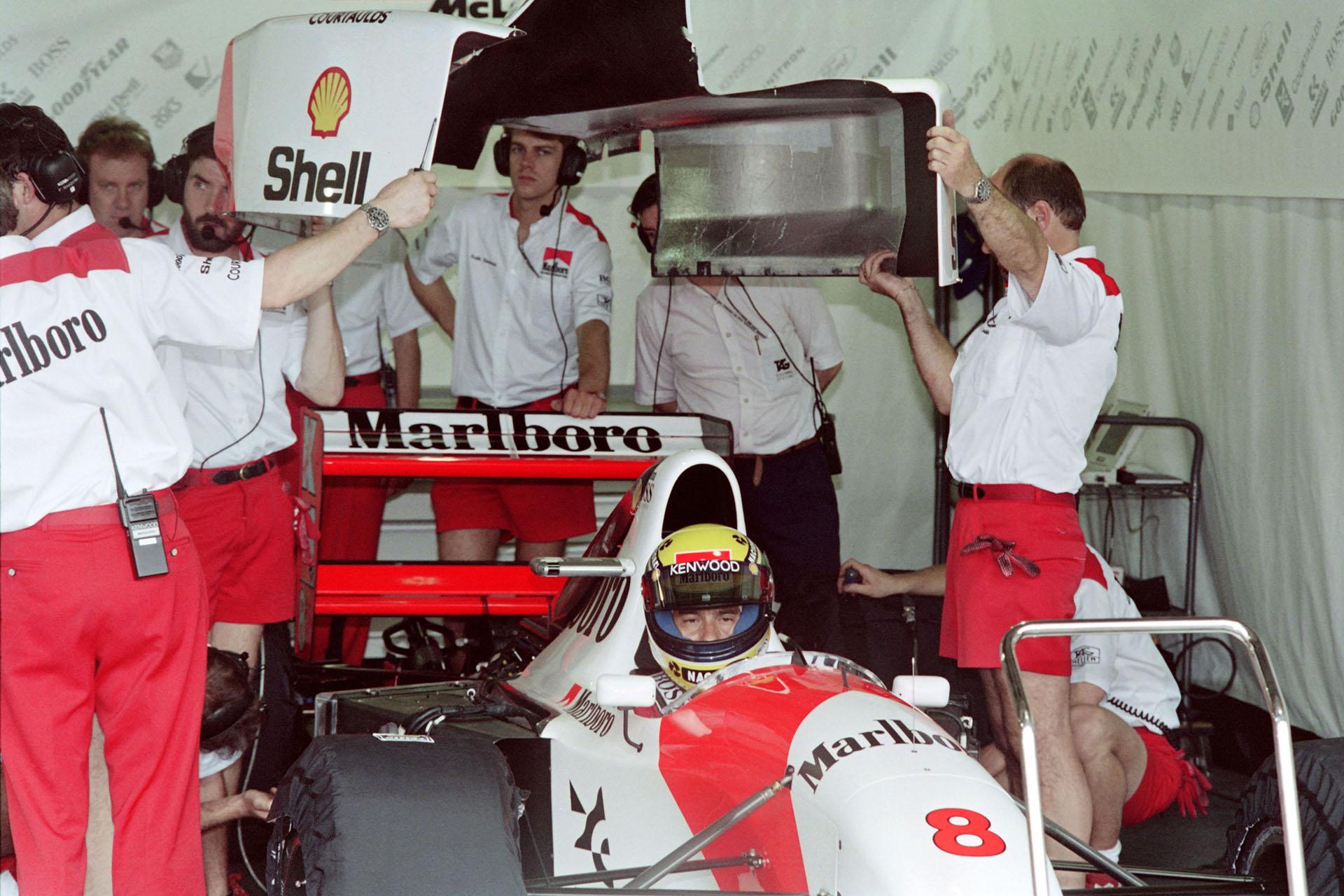 En marzo del 93, Senna estaba listo para salir a pista en los entrenamientos del GP de Brasil