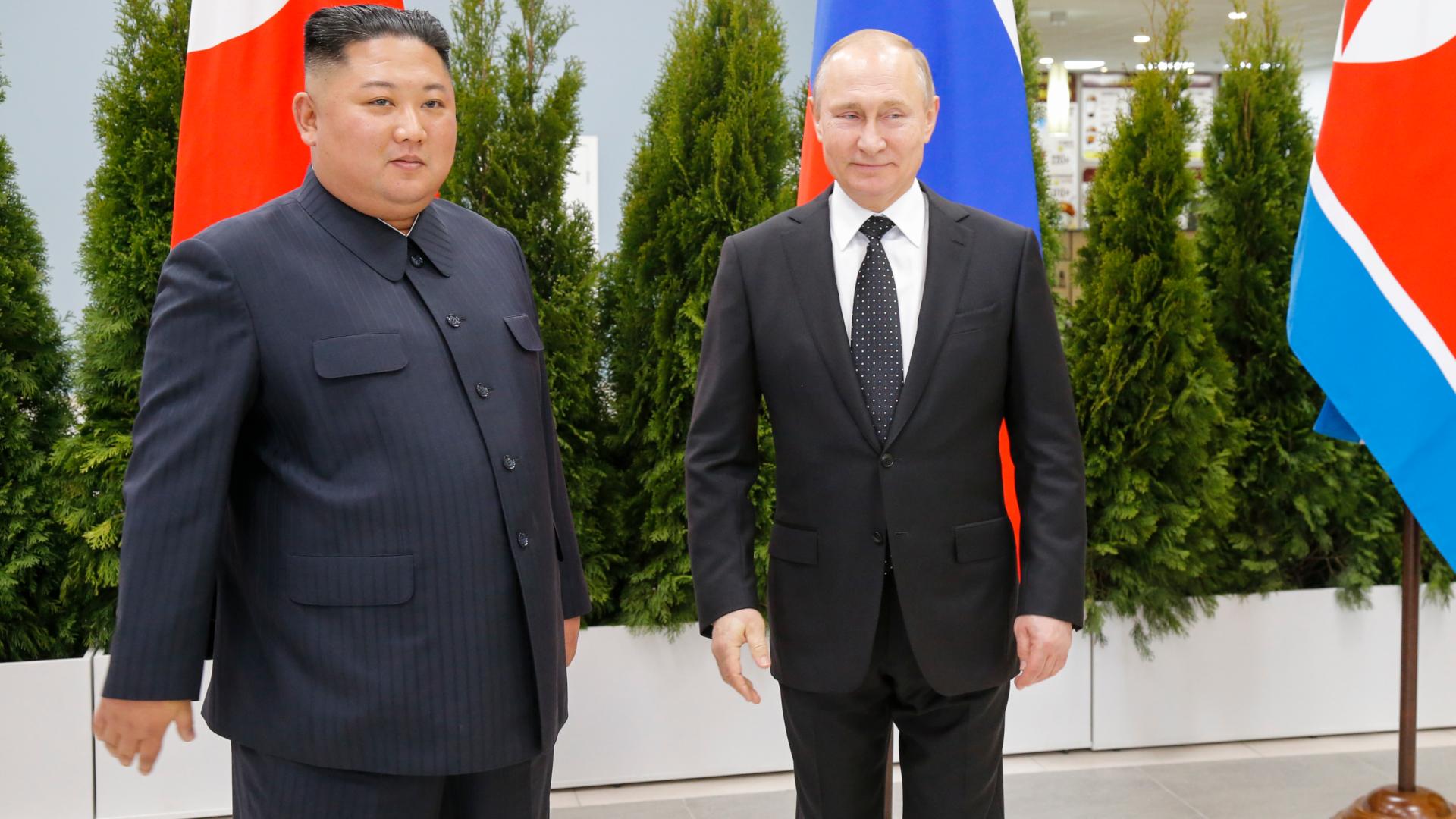 Kim Jong-un y Vladimir Putin. (AP)