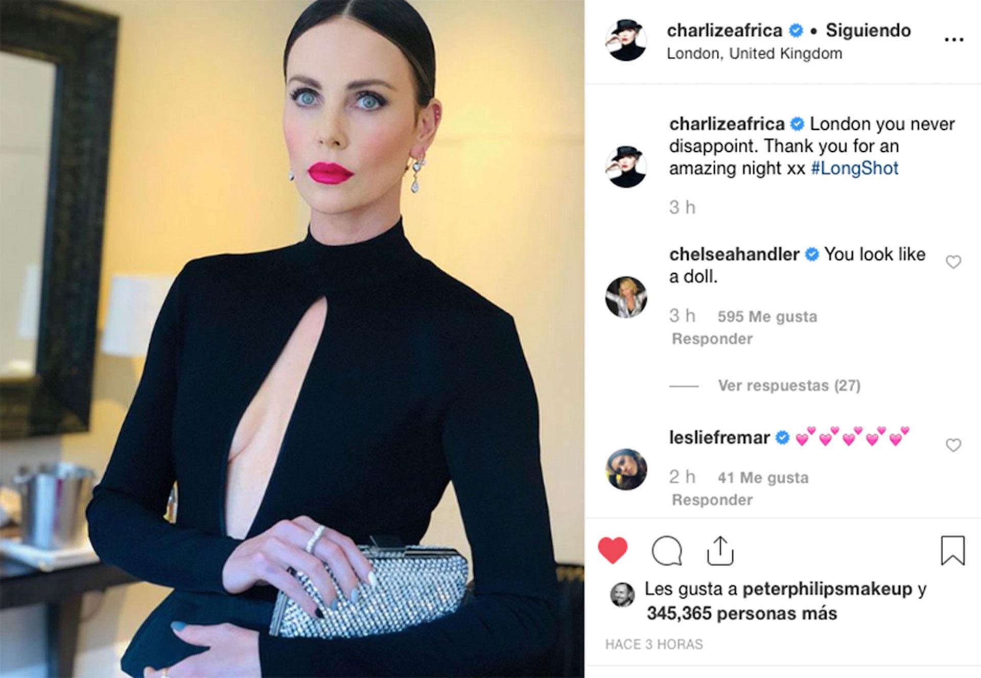"""""""Londres, nunca me defraudas"""", posteó la actriz sudafricana en su cuenta personal de Instagram con una foto ya lookeada antes de salir a la premiere."""
