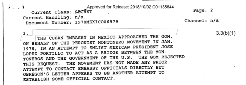 Antes del pedido formal, Montoneros había intentado que el gobierno de México hiciera de puente entre la organización y los EEUU.