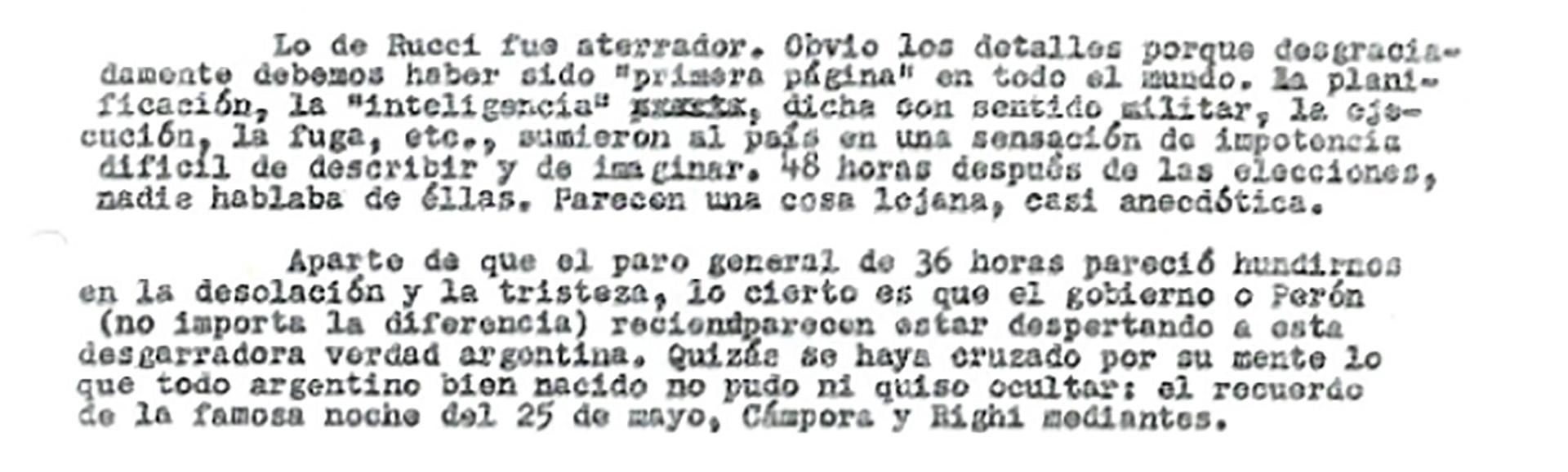 El párrafo de la carta donde habla del crimen del líder sindical