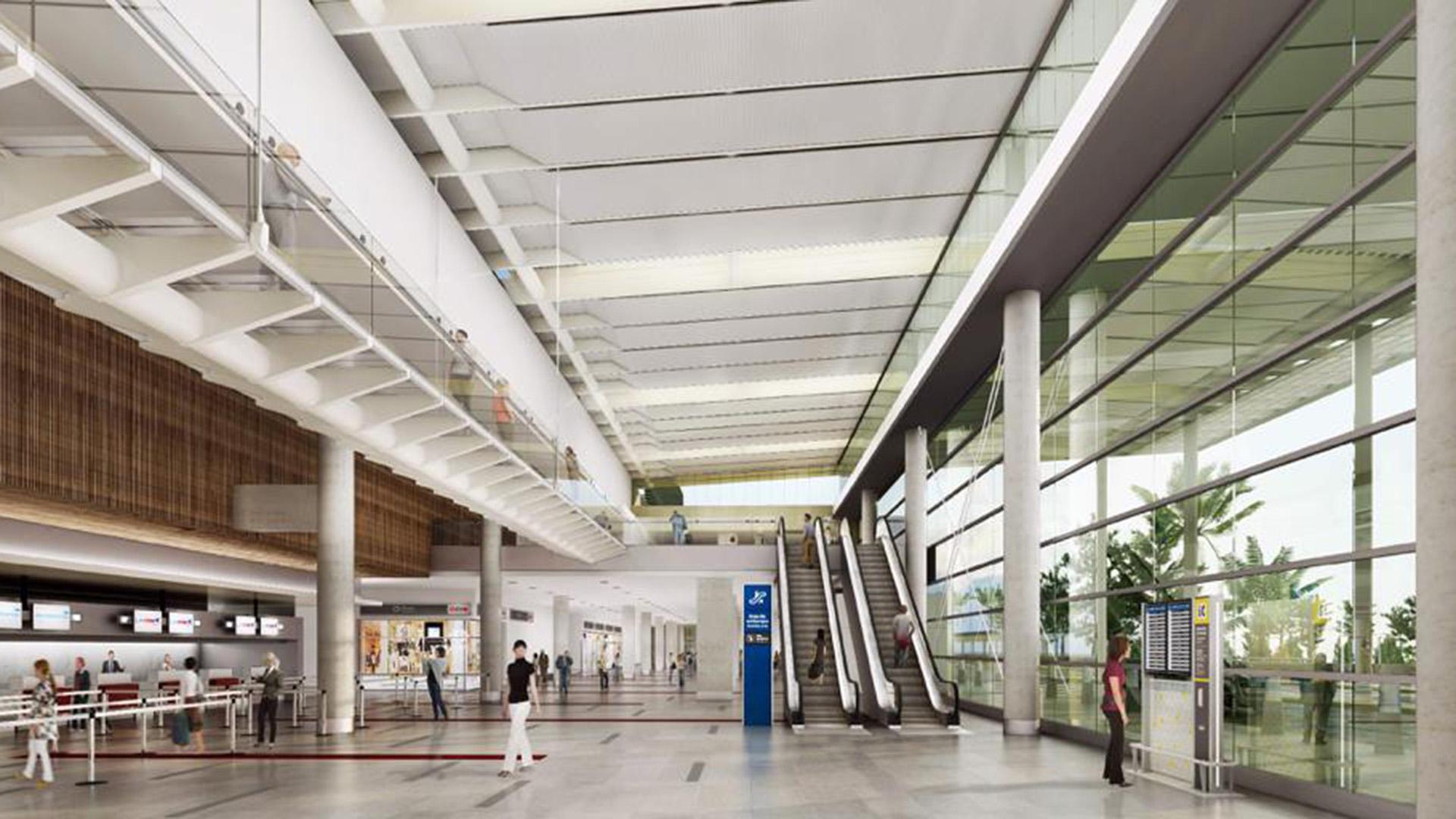 A la planta alta se accede a través de escaleras mecánicas, fijas y un ascensor para 14 pasajeros