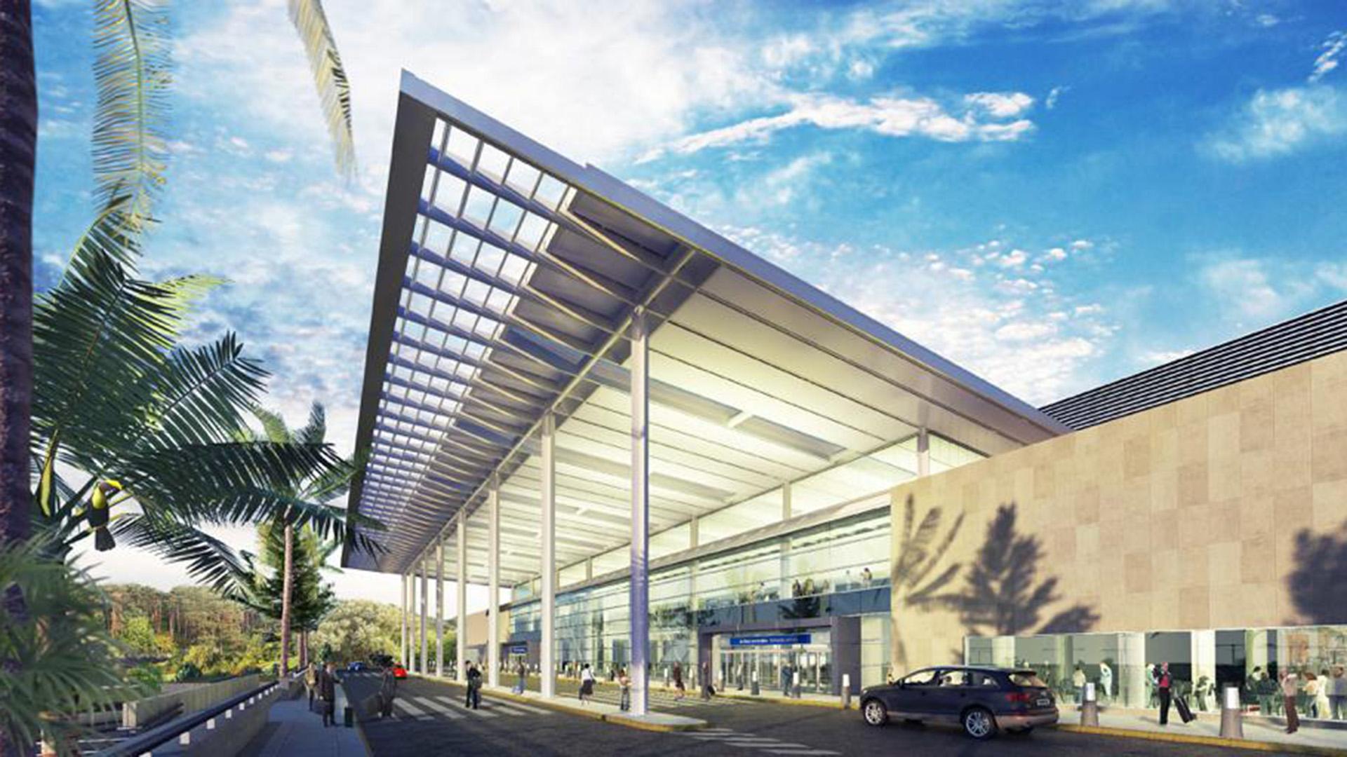 El techo se extiende hacia el exterior para proteger el ingreso y descenso de pasajeros