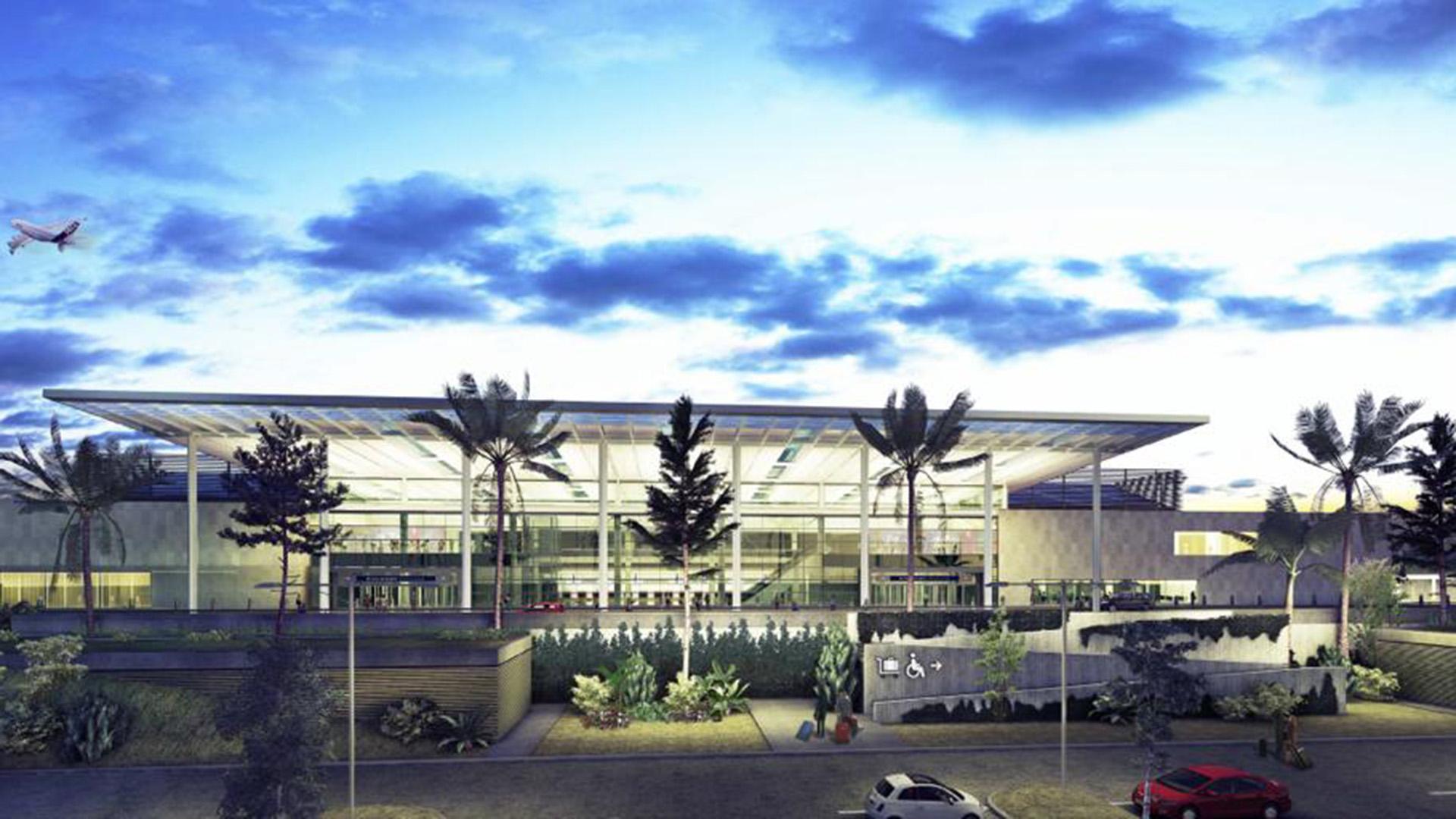 El gran hall central de más de dos niveles de altura estará cubierto por un gran techo metálico, como se ve en este render de la obra