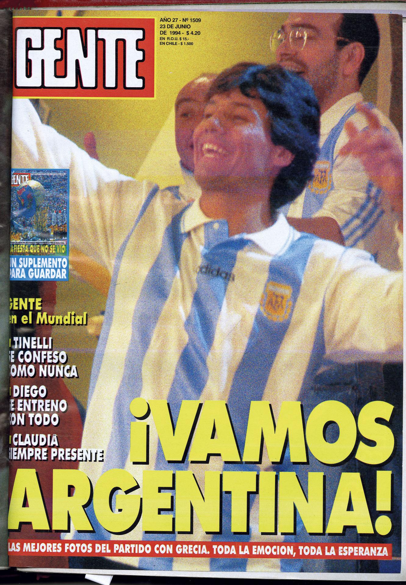 En la tapa mundialista de GENTE, en 1994.