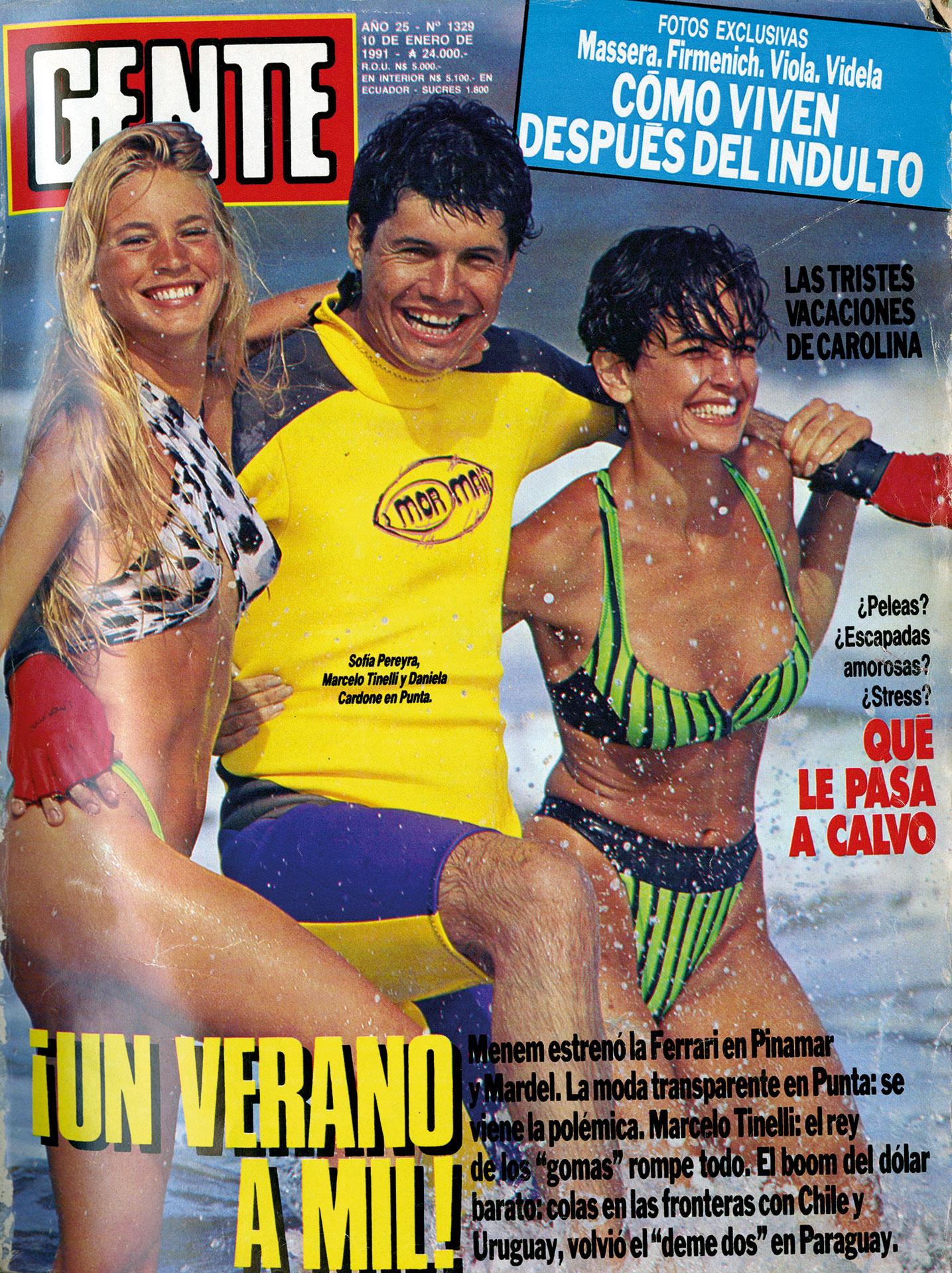 """El """"Rey de los Gomas"""" en la tapa veraniega de GENTE de 1991, junto a Daniela Cardone y Sofía Pereyra."""