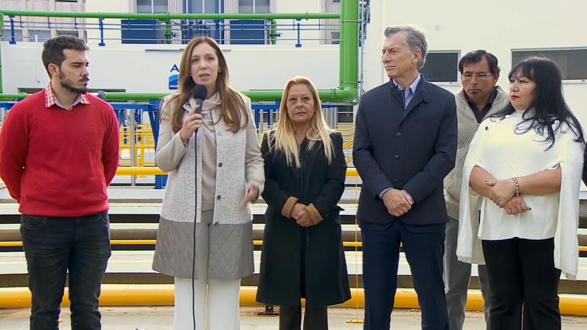 Macri y Vidal en planta potabilizadora