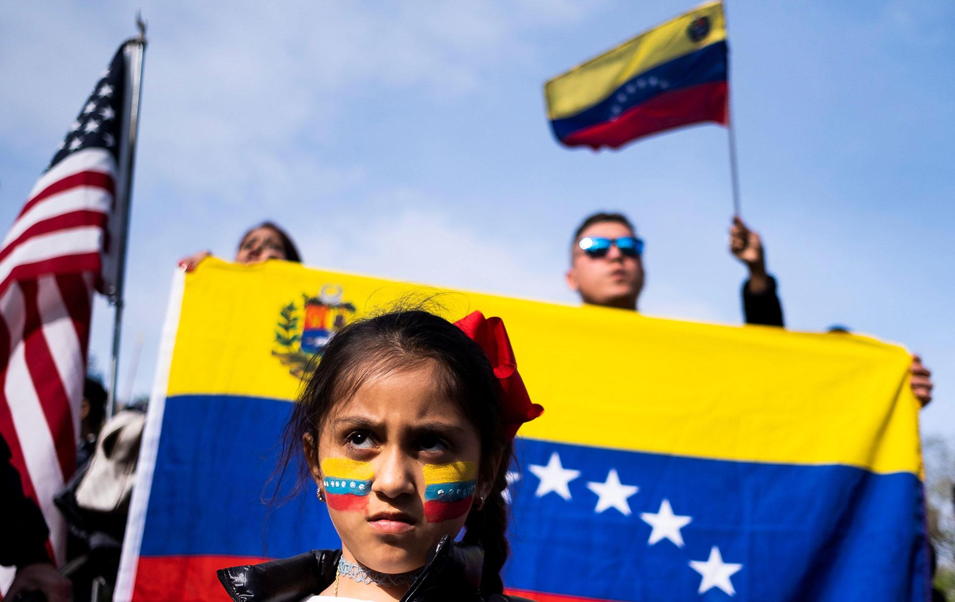 Concentración contra el régimen de Maduro en Union Square, en Nueva York, EEUU