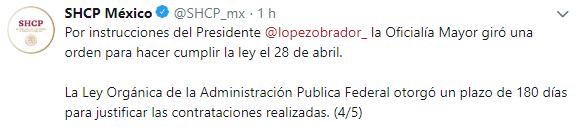 La Secretaría aclaró que tienen hasta el 29 de mayo para justificar las nuevas contrataciones (Foto: Twitter @SHCP_mx)}