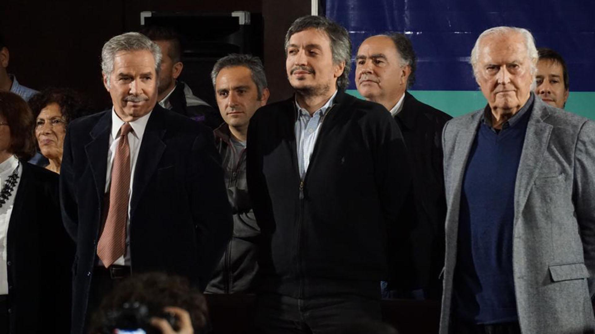 Máximo Kirchner junto a Pino Solanas y Felipe Solá